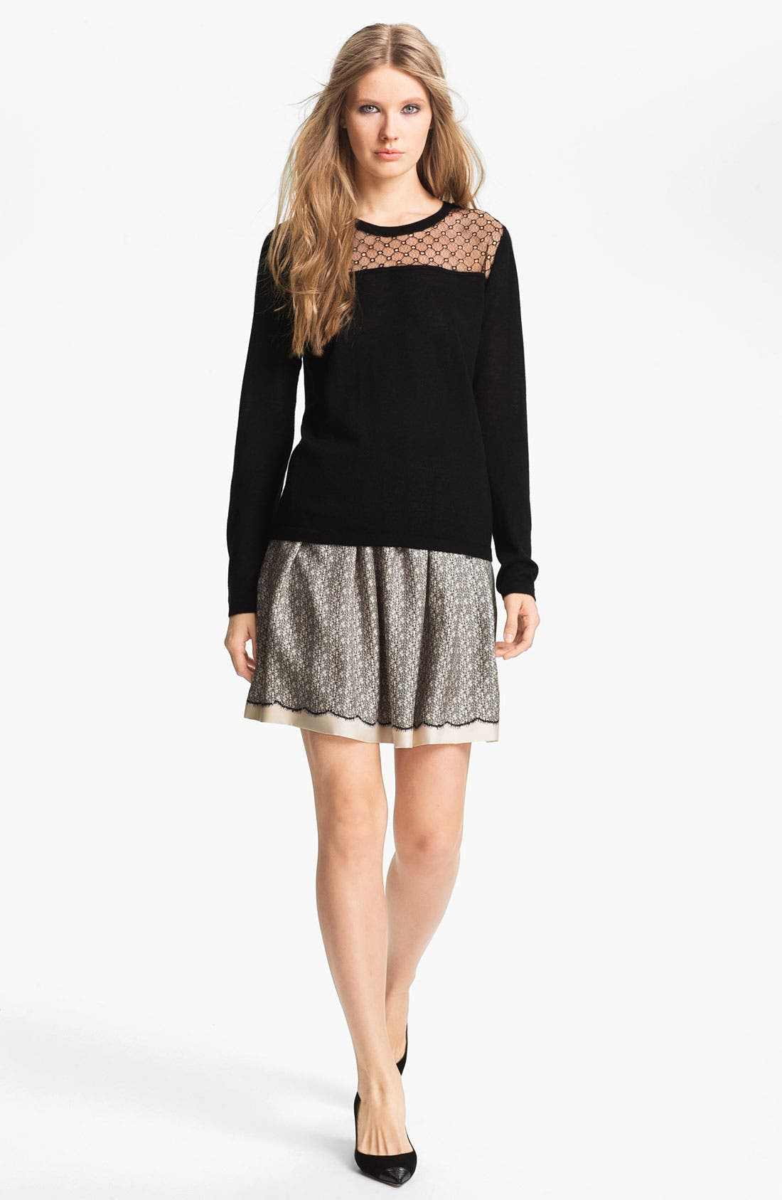 Main Image - Miss Wu 'Sofie' Lace Yoke Cashmere Sweater (Nordstrom Exclusive)