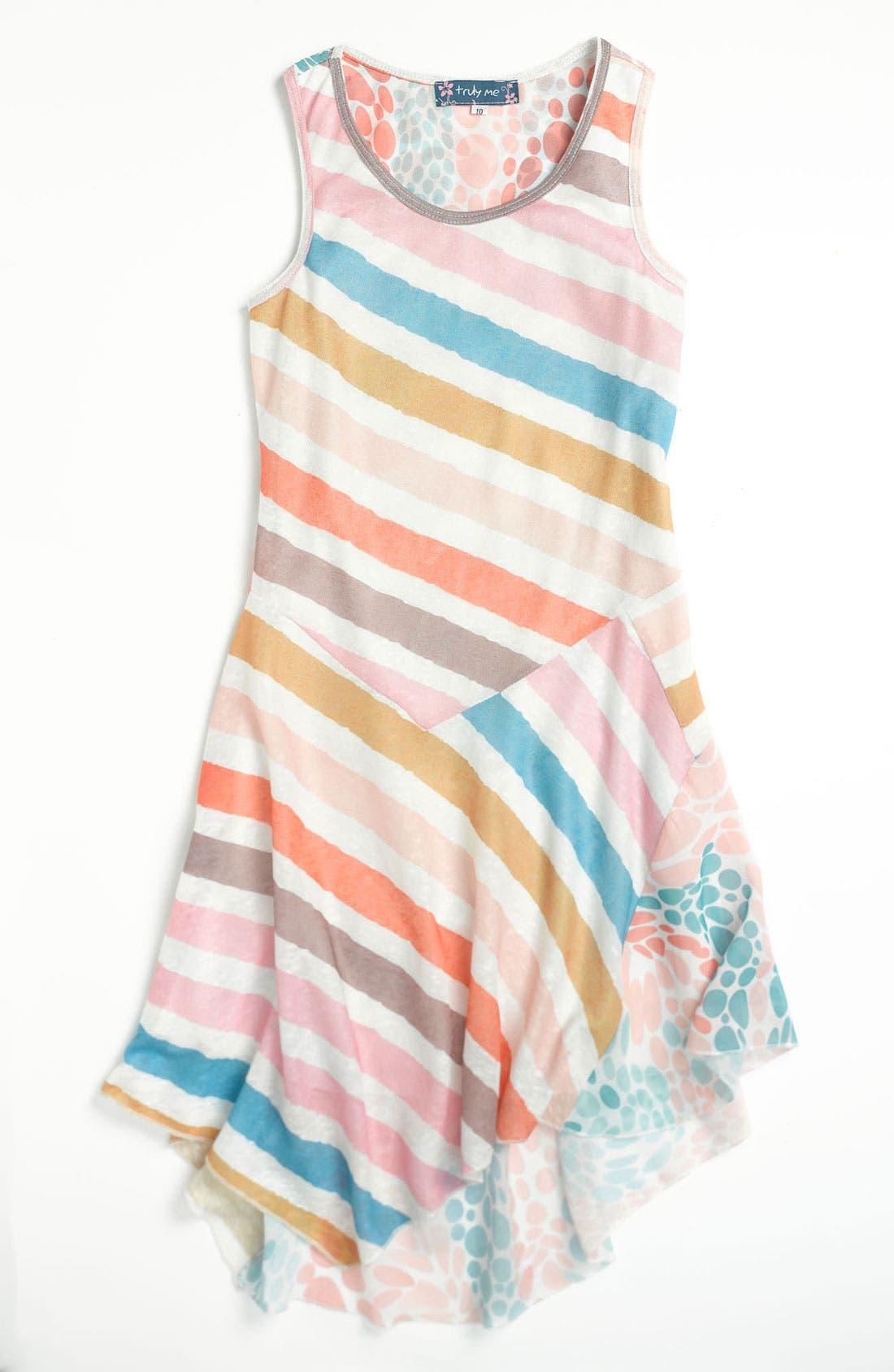 Main Image - Truly Me Mixed Print Dress (Little Girls & Big Girls)