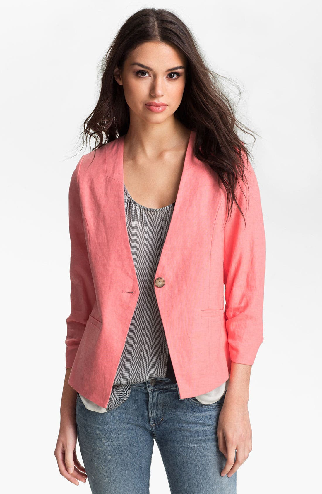 Alternate Image 1 Selected - Gibson Collarless Linen Blazer