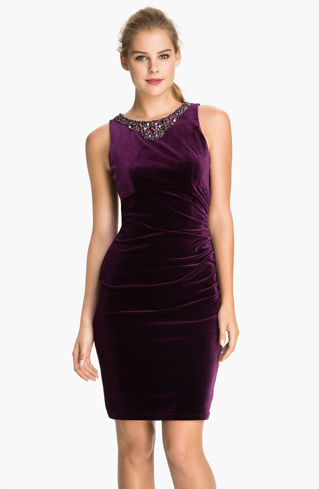 Main Image - Eliza J Embellished Neck Velvet Sheath Dress (Petite)