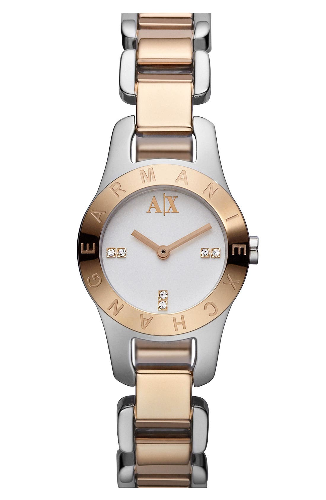 Main Image - AX Armani Exchange Round Two Tone Bracelet Watch, 24mm (Online Only)