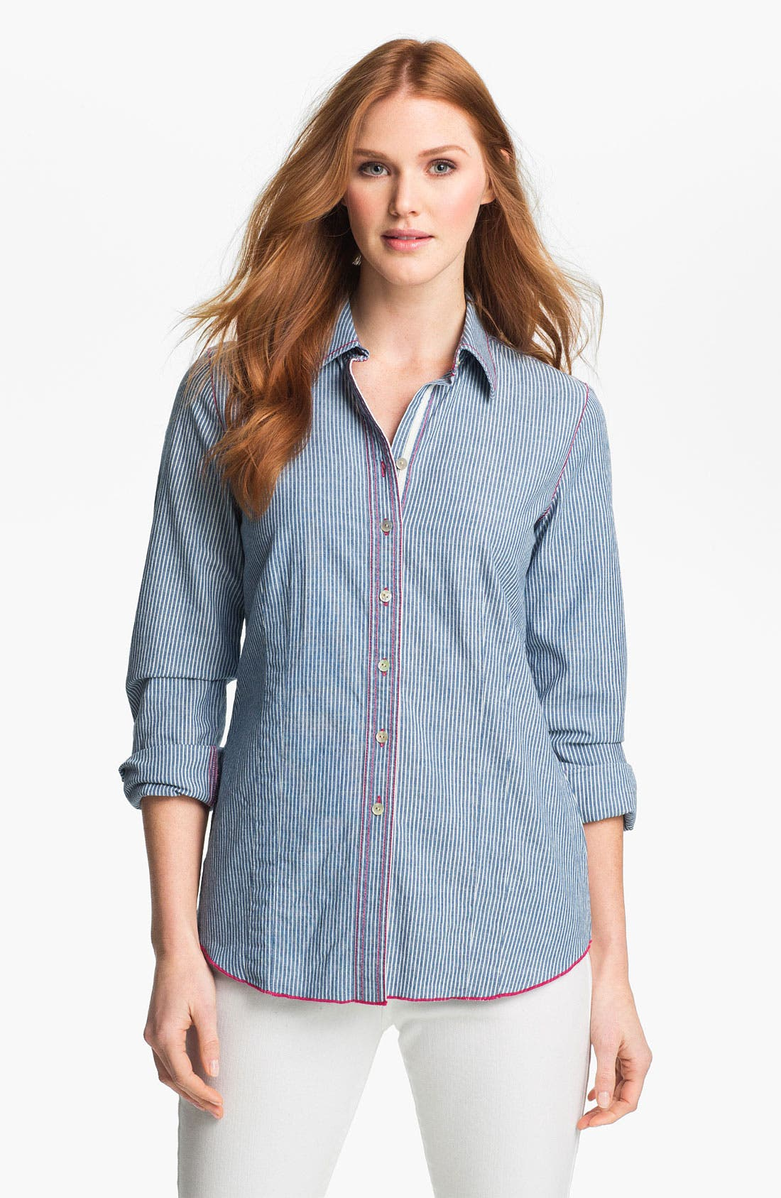 Main Image - Shirt 469 Railroad Stripe Long Sleeve Denim Shirt