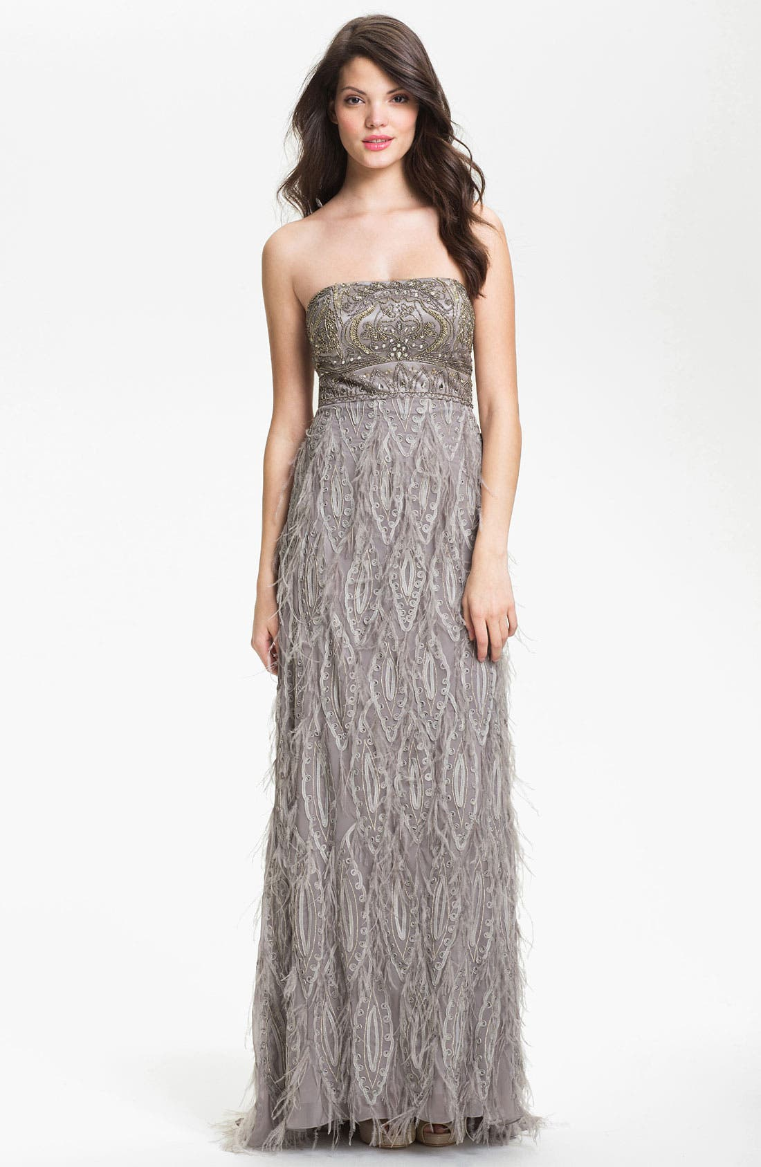 Alternate Image 1 Selected - Sue Wong Embellished Strapless Tulle & Mesh Gown