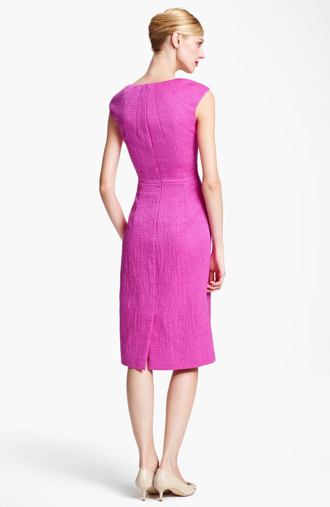 Alternate Image 2  - Oscar de la Renta Belted Crimped Cotton & Silk Dress