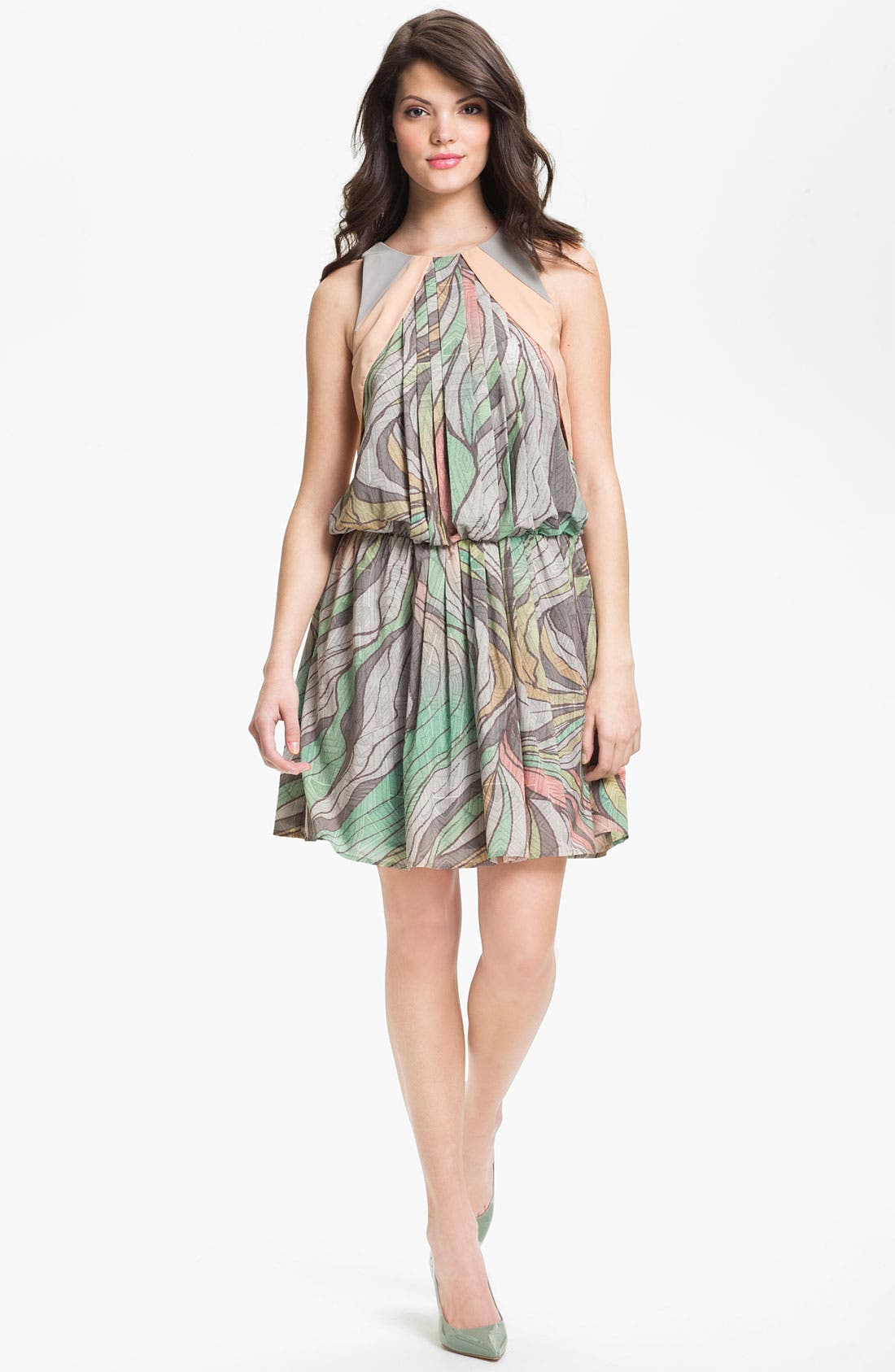 Alternate Image 1 Selected - Jessica Simpson Print Blouson Chiffon Dress