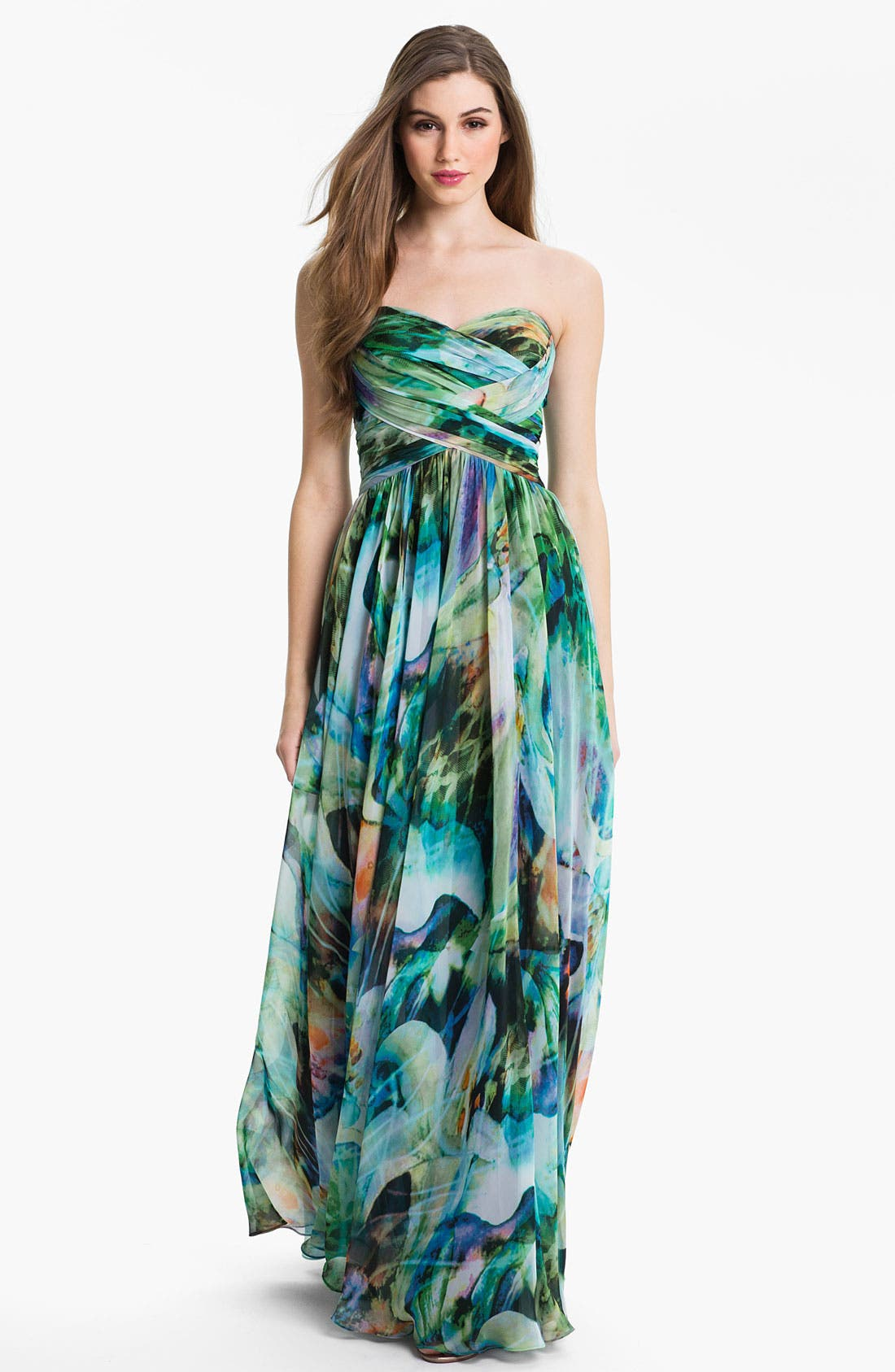 Main Image - La Femme Ruched Print Chiffon Gown