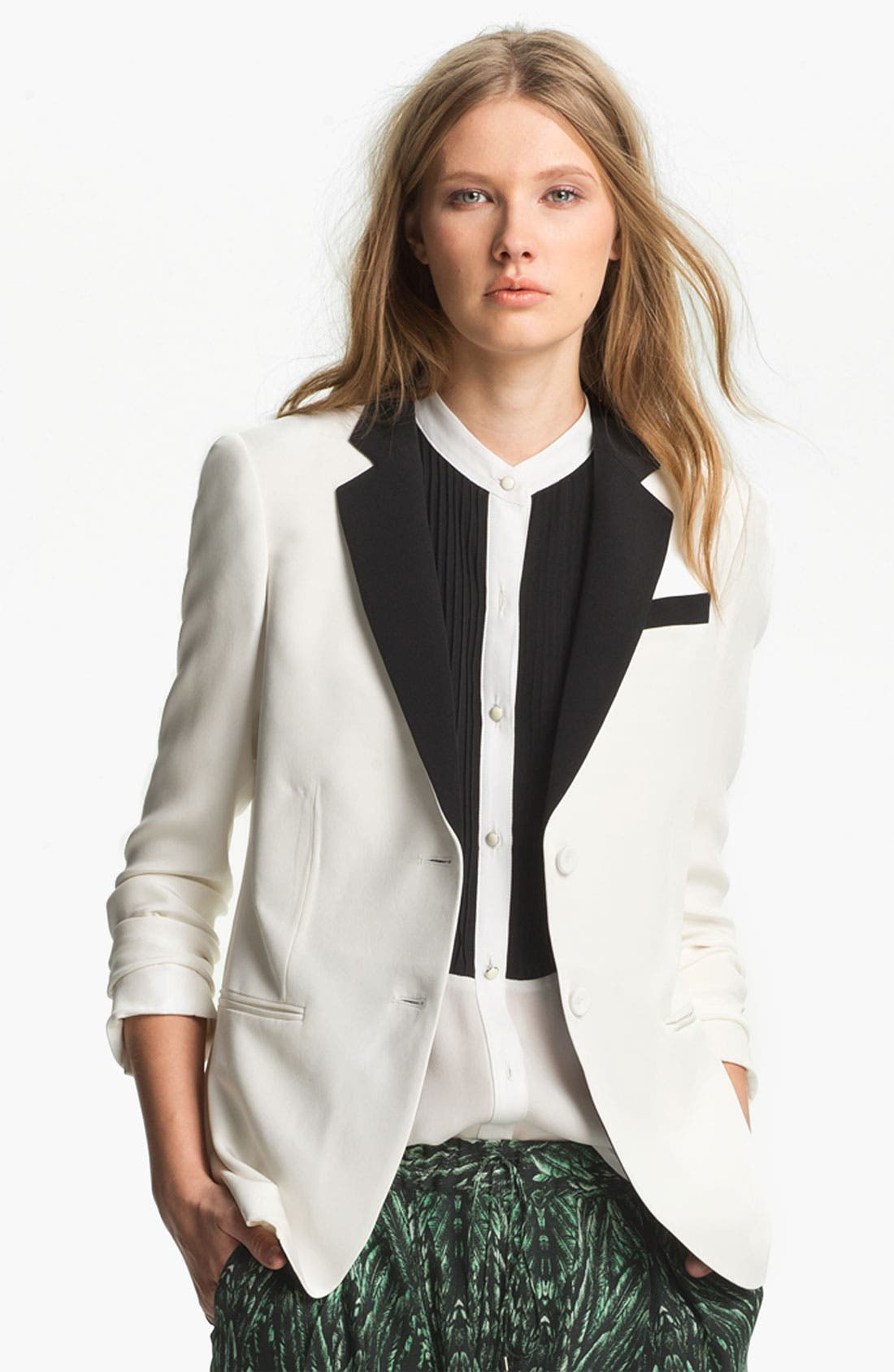Alternate Image 2  - Haute Hippie Contrast Lapel Silk Blazer