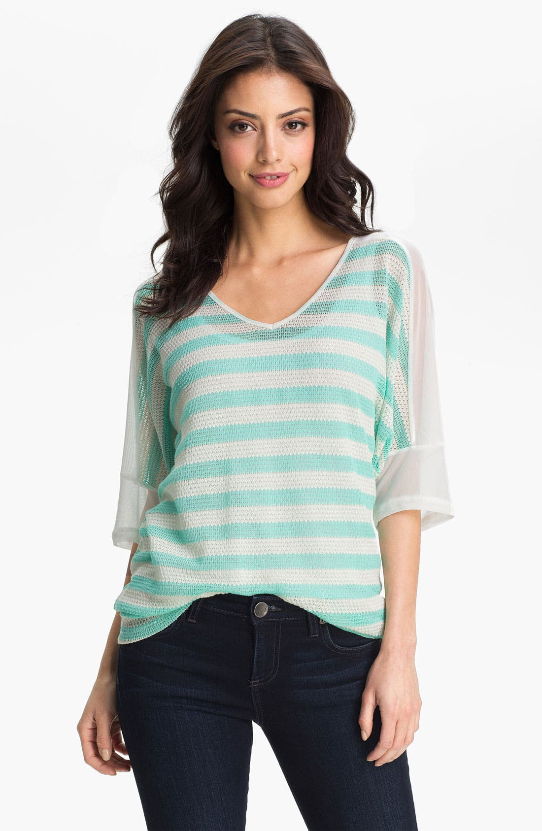 Alternate Image 1 Selected - MOD.lusive Sheer Shoulder Stripe Sweater