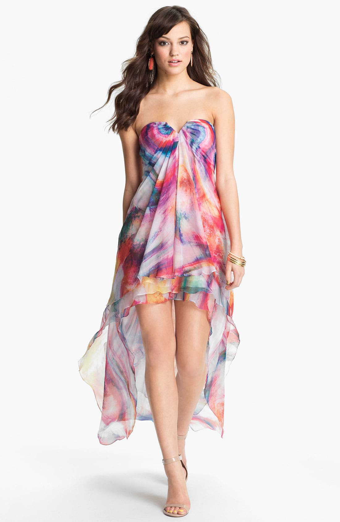 Main Image - La Femme Print Strapless High/Low Gown