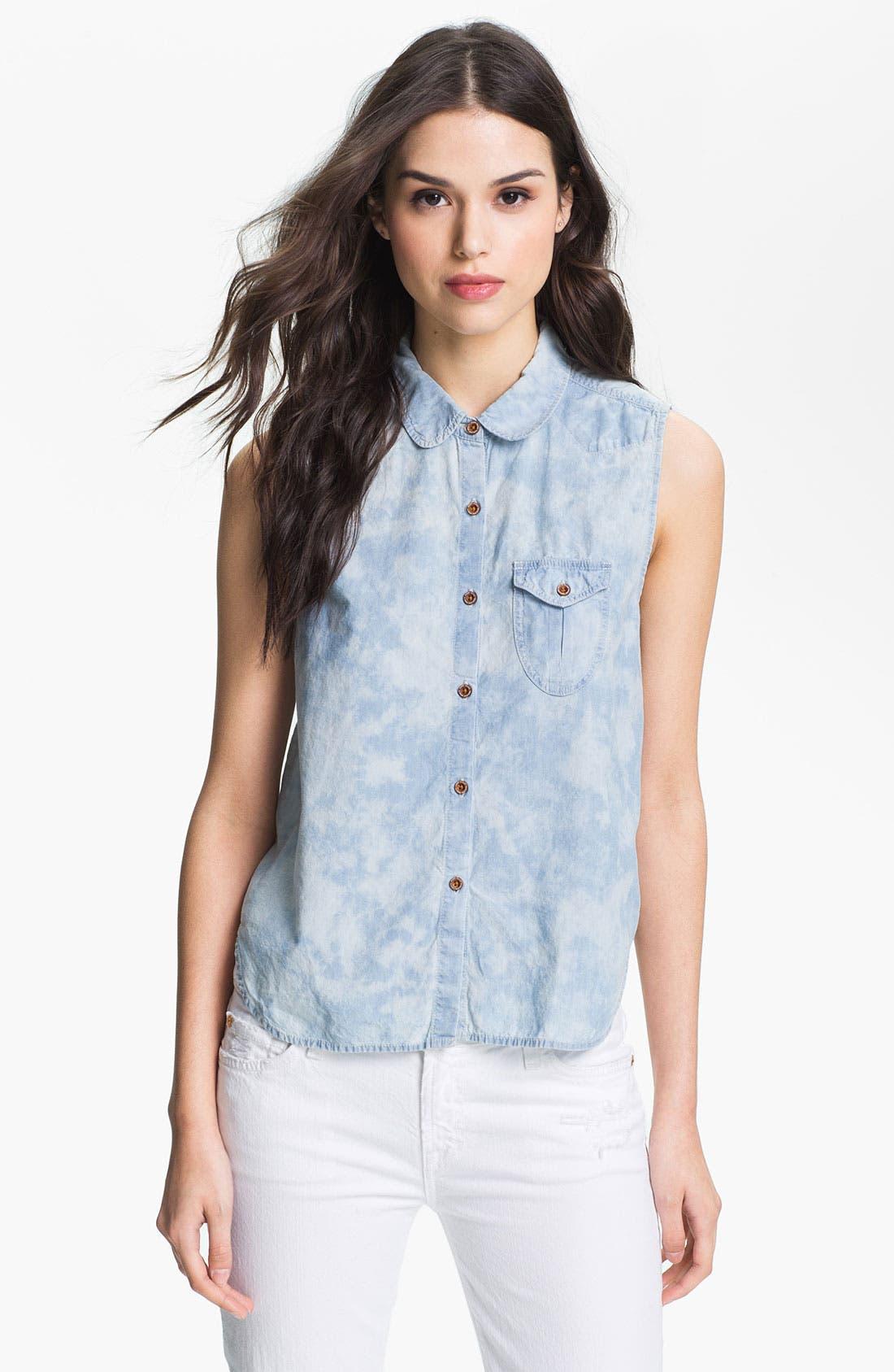 Main Image - Maison Scotch 'Arch' Tie Dye Chambray Sleeveless Shirt
