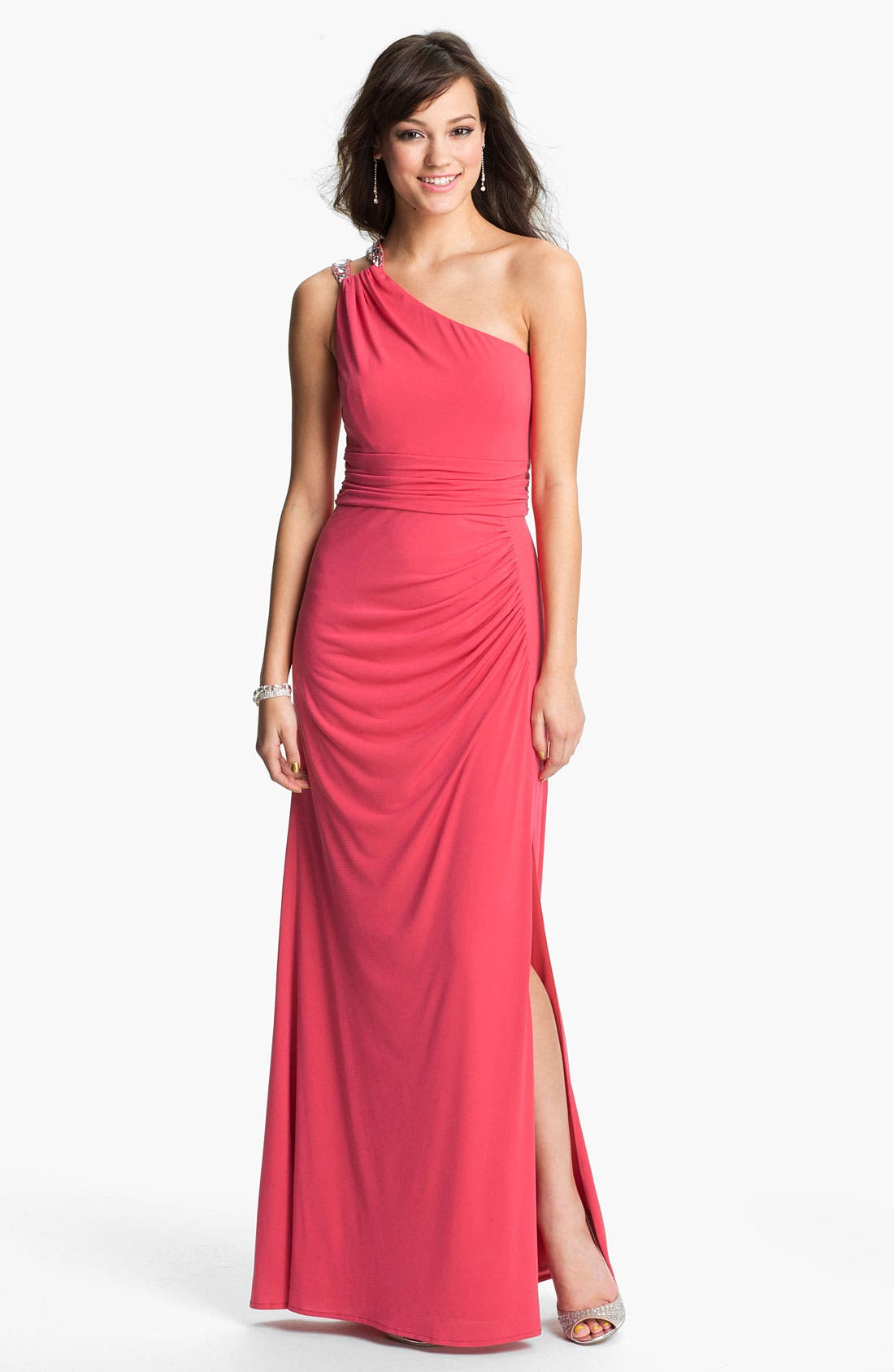 Main Image - Hailey by Adrianna Papell Embellished One Shoulder Gown (Online Exclusive)