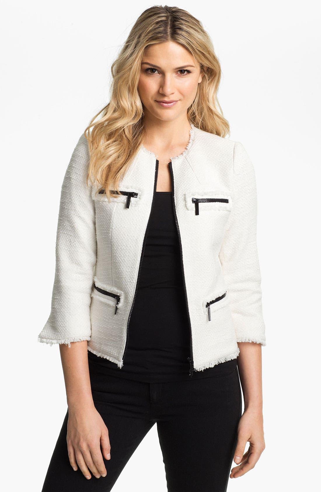 Main Image - MICHAEL Michael Kors Zip Front Tweed Jacket