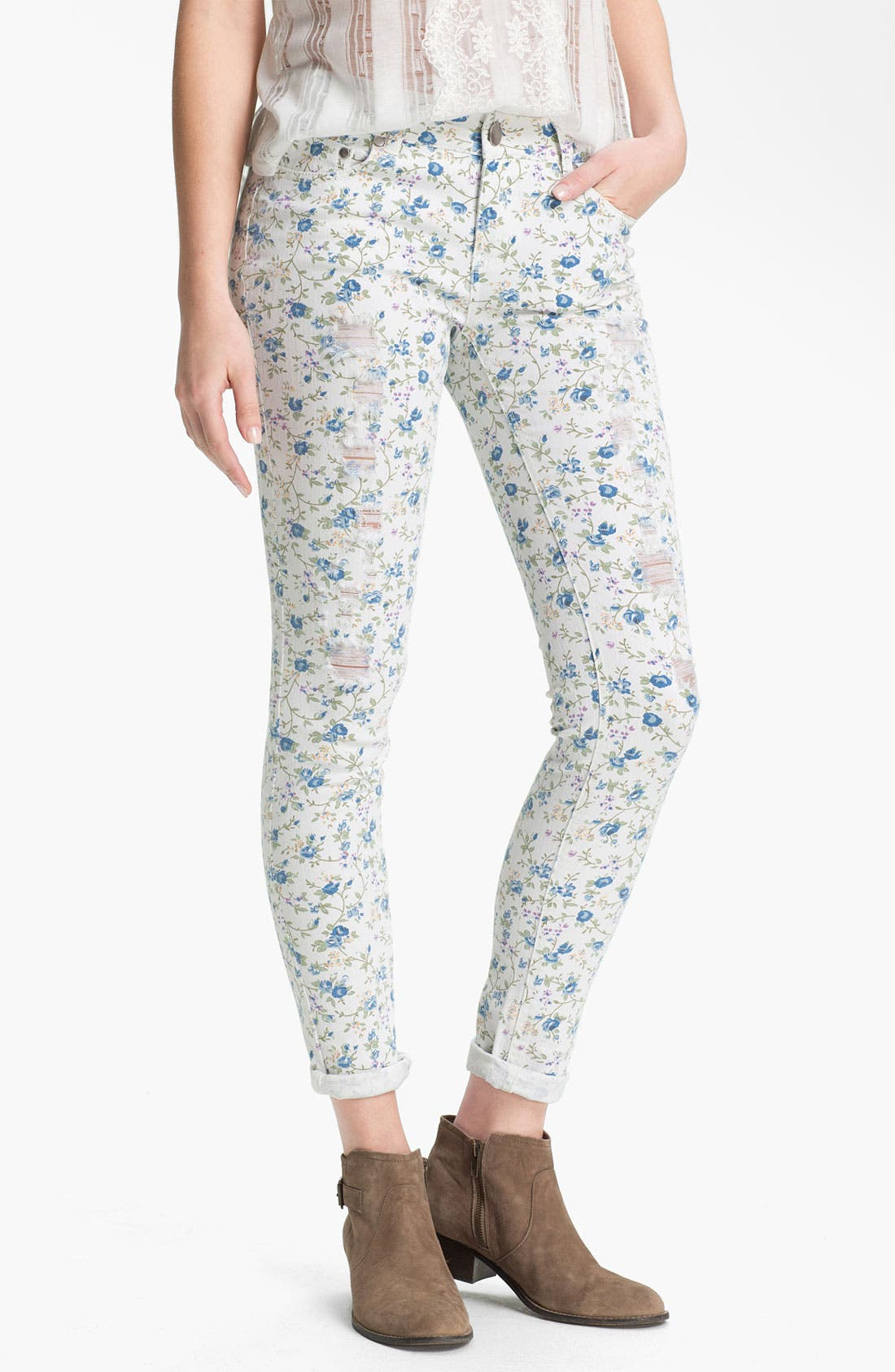 Main Image - Fire Floral Print Destroyed Skinny Jeans (Juniors)