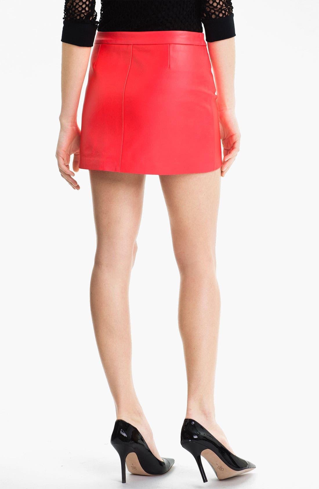 Alternate Image 2  - Milly Zip Detail Leather Miniskirt
