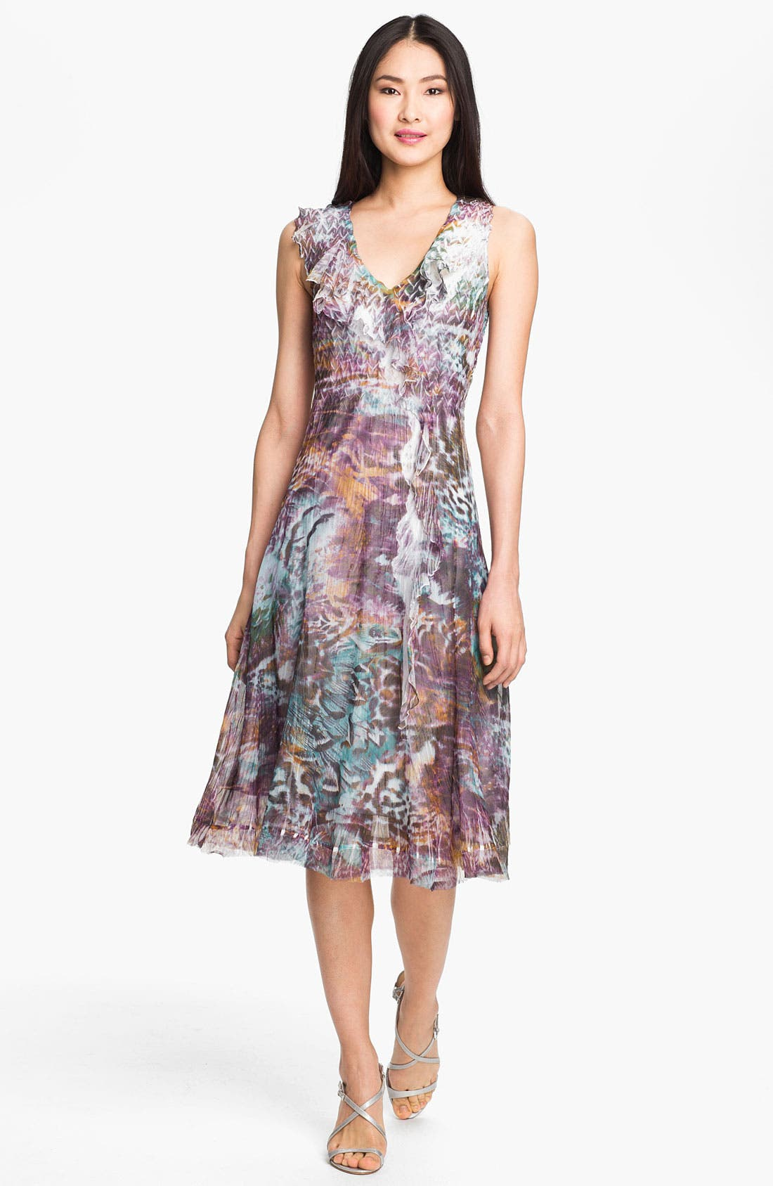 Alternate Image 1 Selected - Komarov Print V-Neck Chiffon Dress