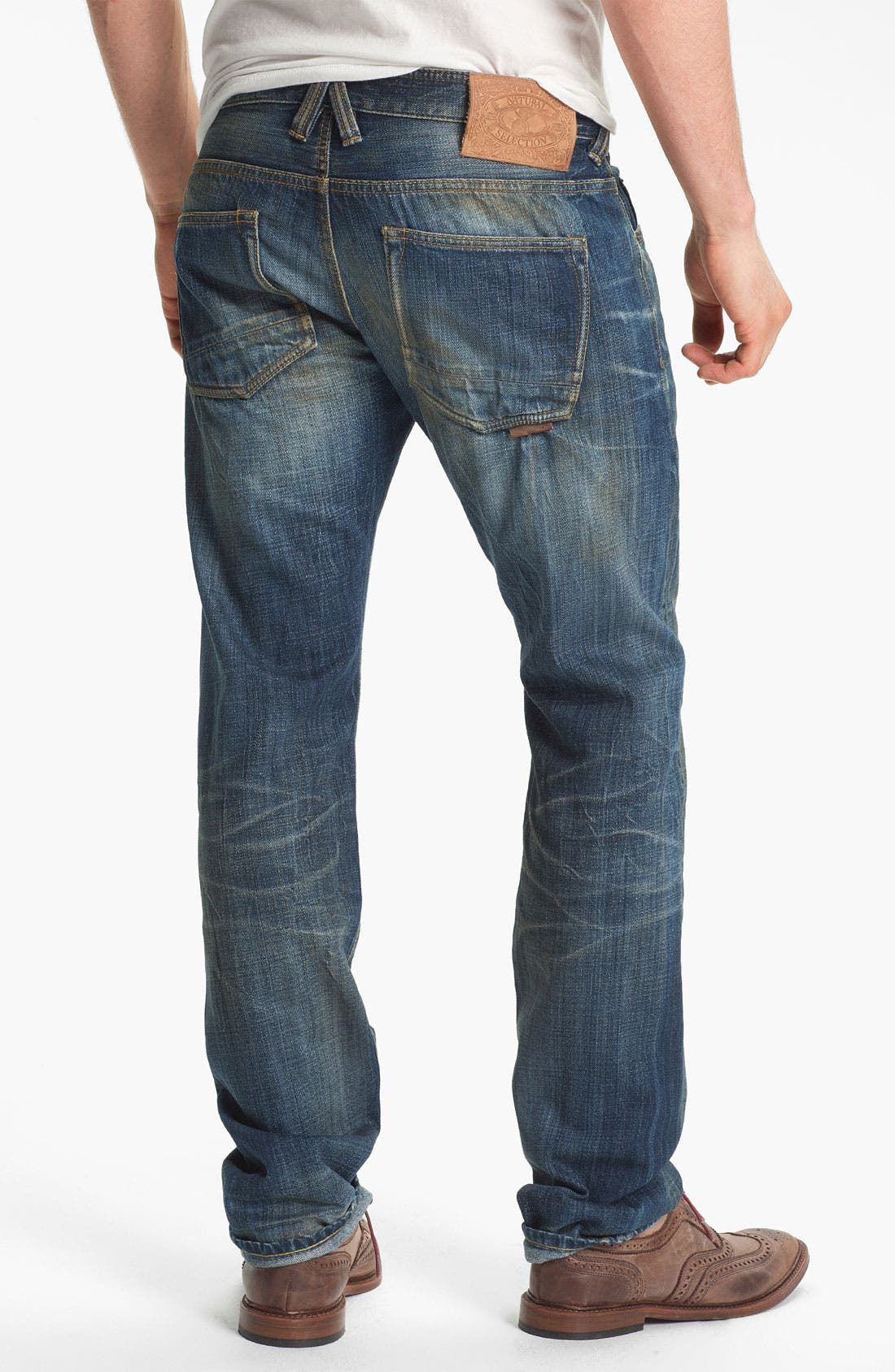 Alternate Image 1 Selected - Natural Selection Denim 'Broken' Narrow Straight Leg Selvedge Jeans (Dune)