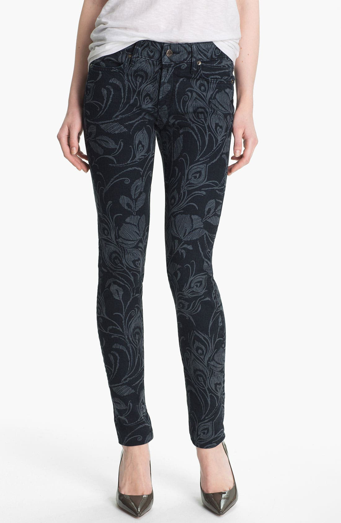 Main Image - Blue Essence Shadow Print Skinny Jeans (Indigo) (Nordstrom Exclusive)