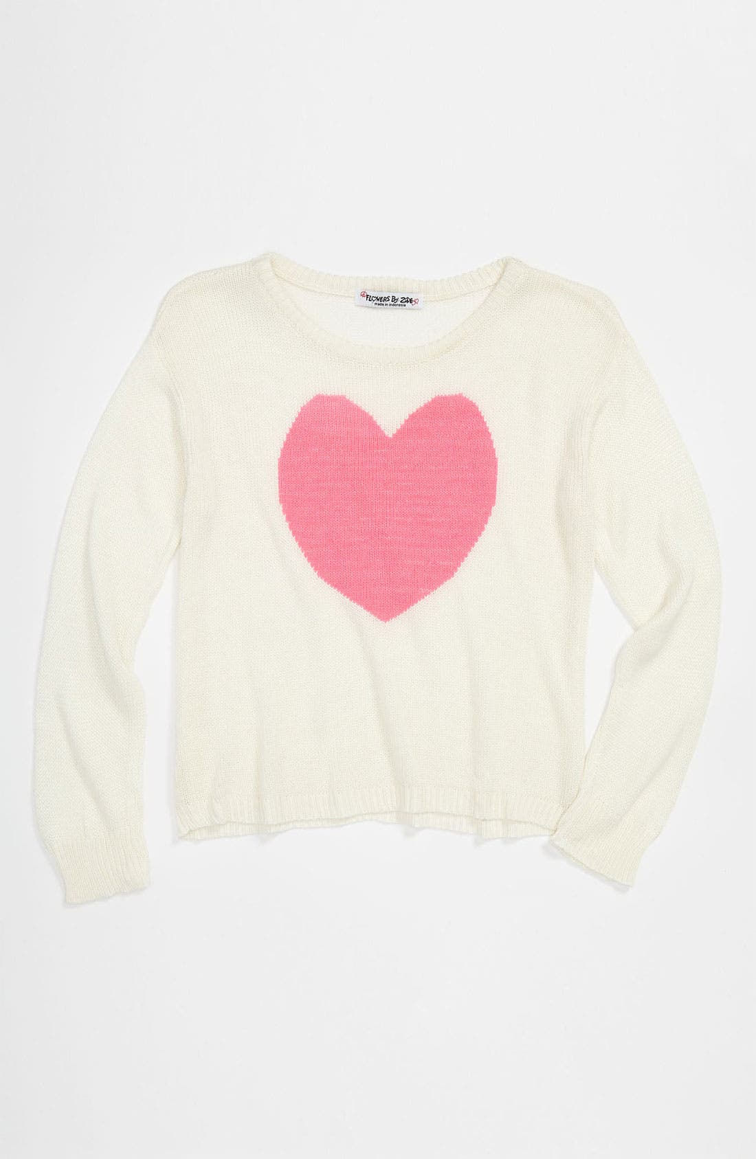 Main Image - Flowers by Zoe 'Heart' Sweater (Big Girls)