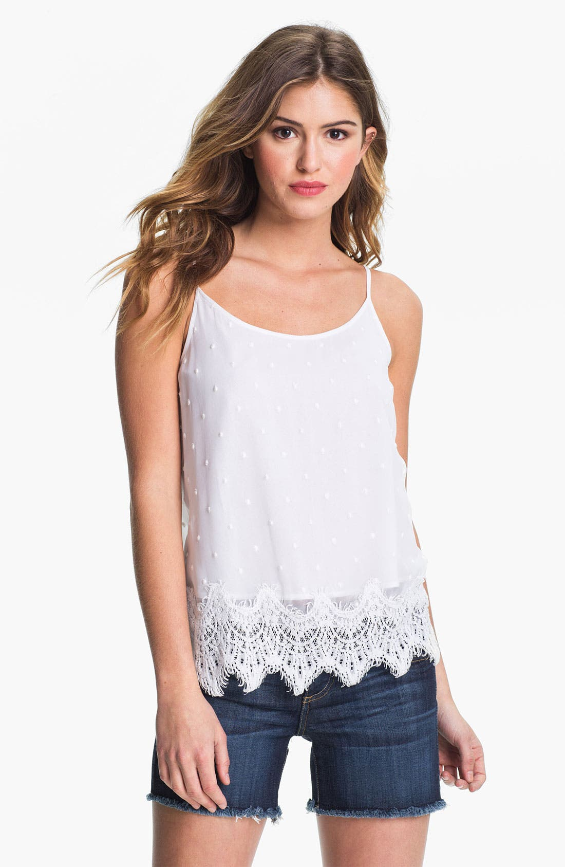 Alternate Image 1 Selected - Lucky Brand 'County Mart' Swiss Dot Camisole
