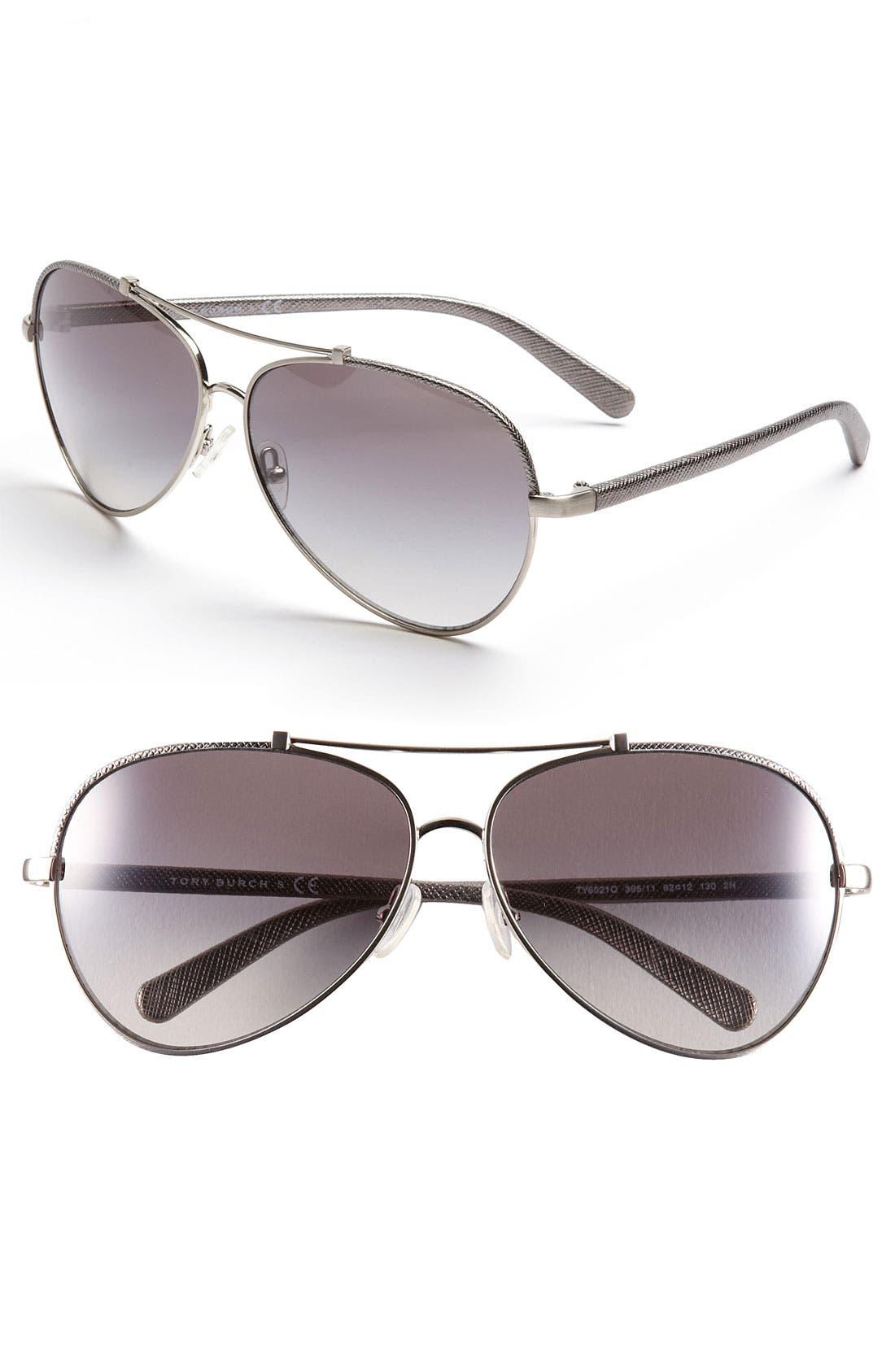 Main Image - Tory Burch 62mm Aviator Sunglasses