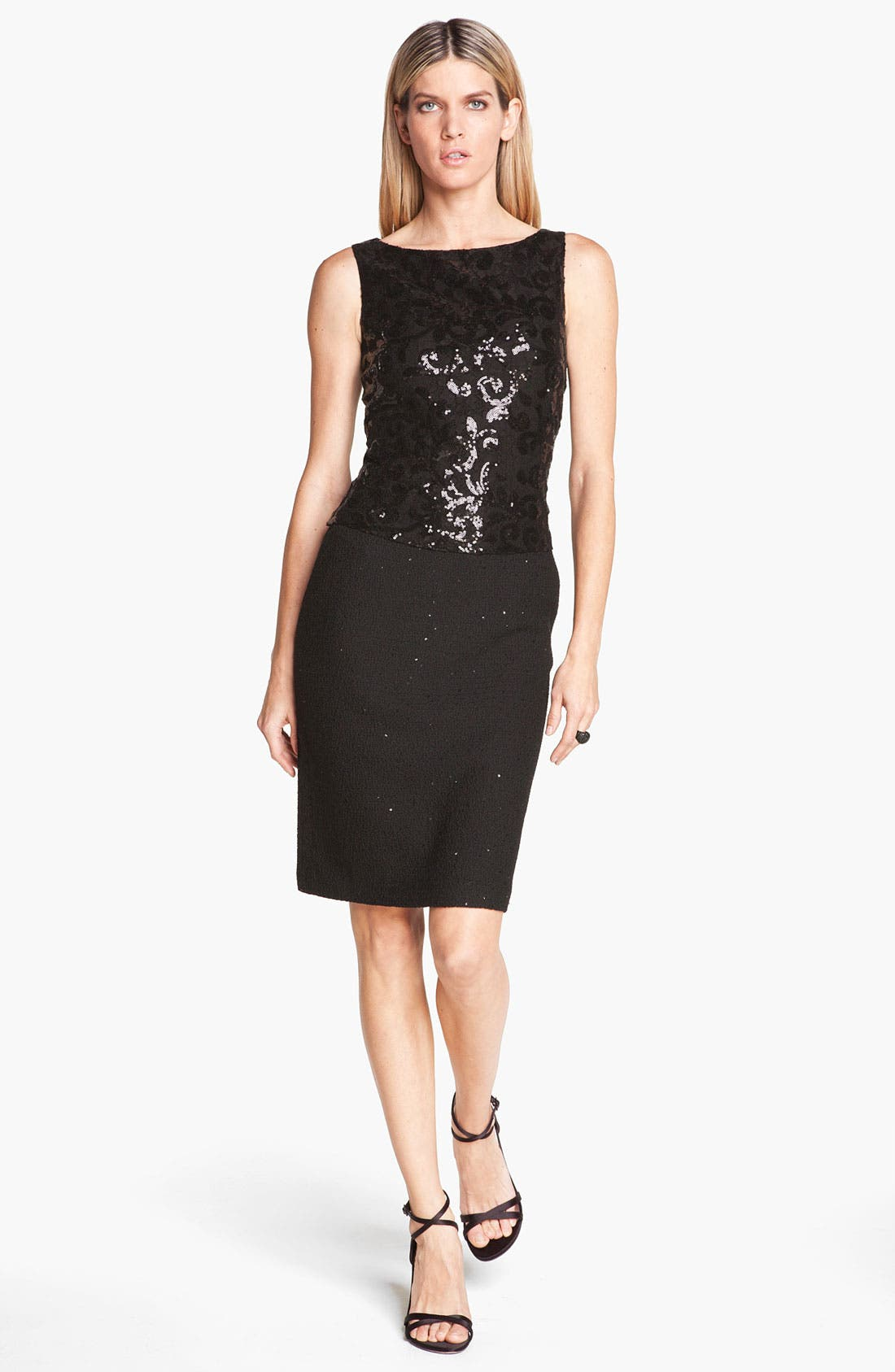 Main Image - St. John Collection Sequin Lace & Shimmer Knit Dress