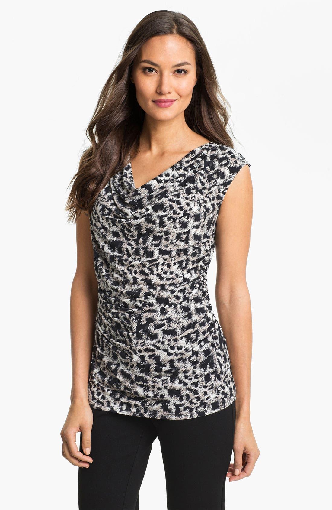 Main Image - Chaus Drape Neck Leopard Print Top