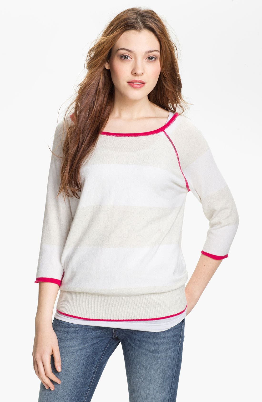 Main Image - Press Contrast Trim Sweater