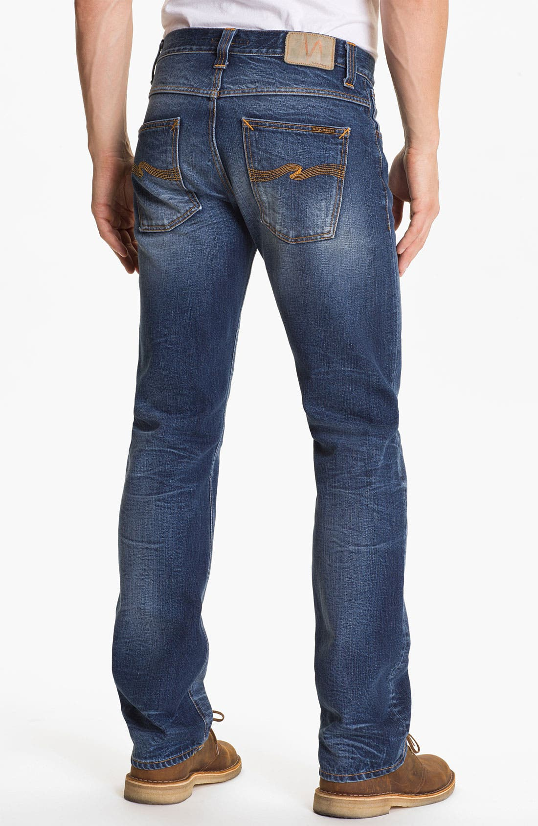 Alternate Image 1 Selected - Nudie 'Average Joe' Straight Leg Jeans (Organic Fine Contrast)