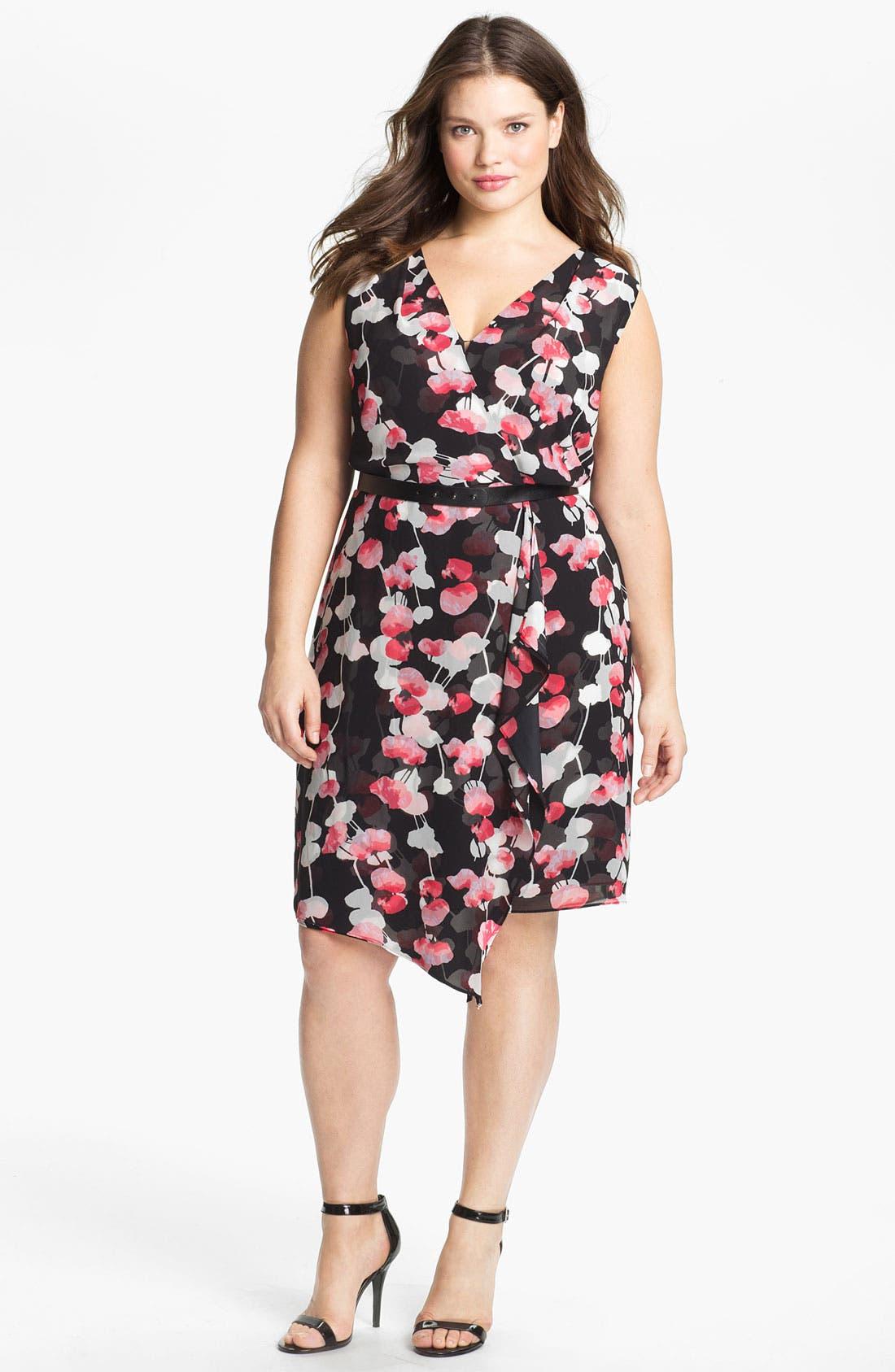 Alternate Image 1 Selected - DKNYC Print Faux Wrap Chiffon Dress (Plus)