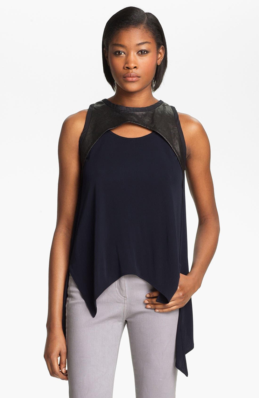 Alternate Image 2  - Cut25 Leather & Matte Jersey Top