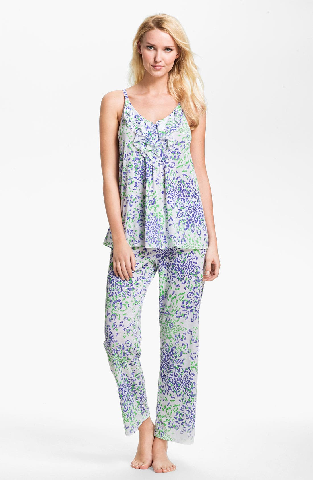 Main Image - Oscar de la Renta Sleepwear 'Animal Blossom' Print Pajamas