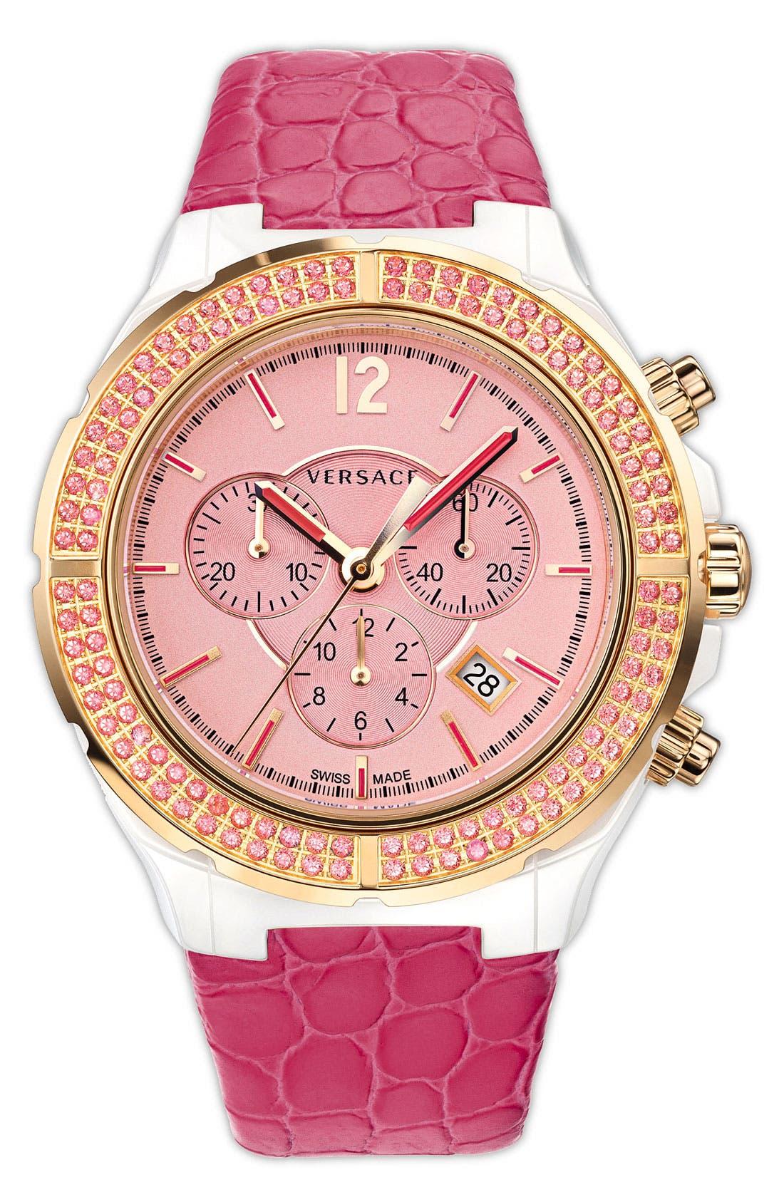 Alternate Image 1 Selected - Versace 'DV One Cruise' Topaz Bezel Watch, 43mm
