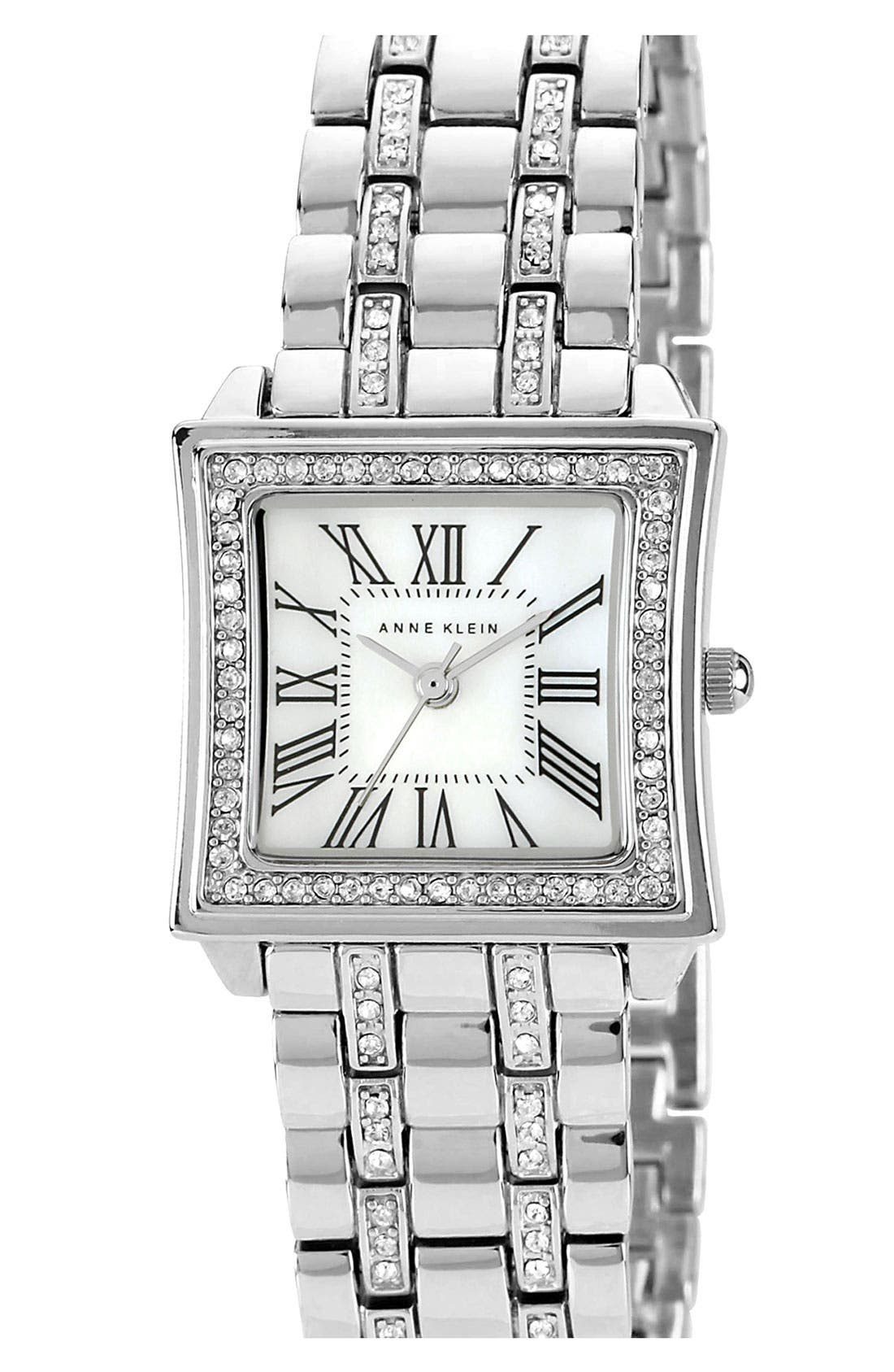 Alternate Image 1 Selected - Anne Klein Crystal Accent Square Bracelet Watch