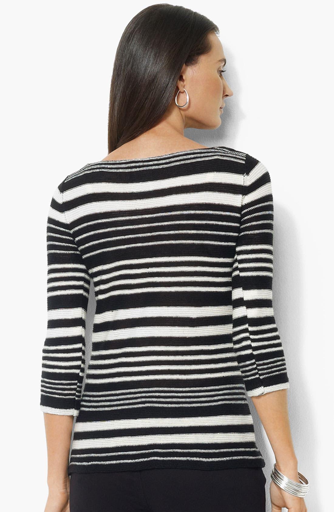 Alternate Image 2  - Lauren Ralph Lauren Bateau Neck Stripe Sweater