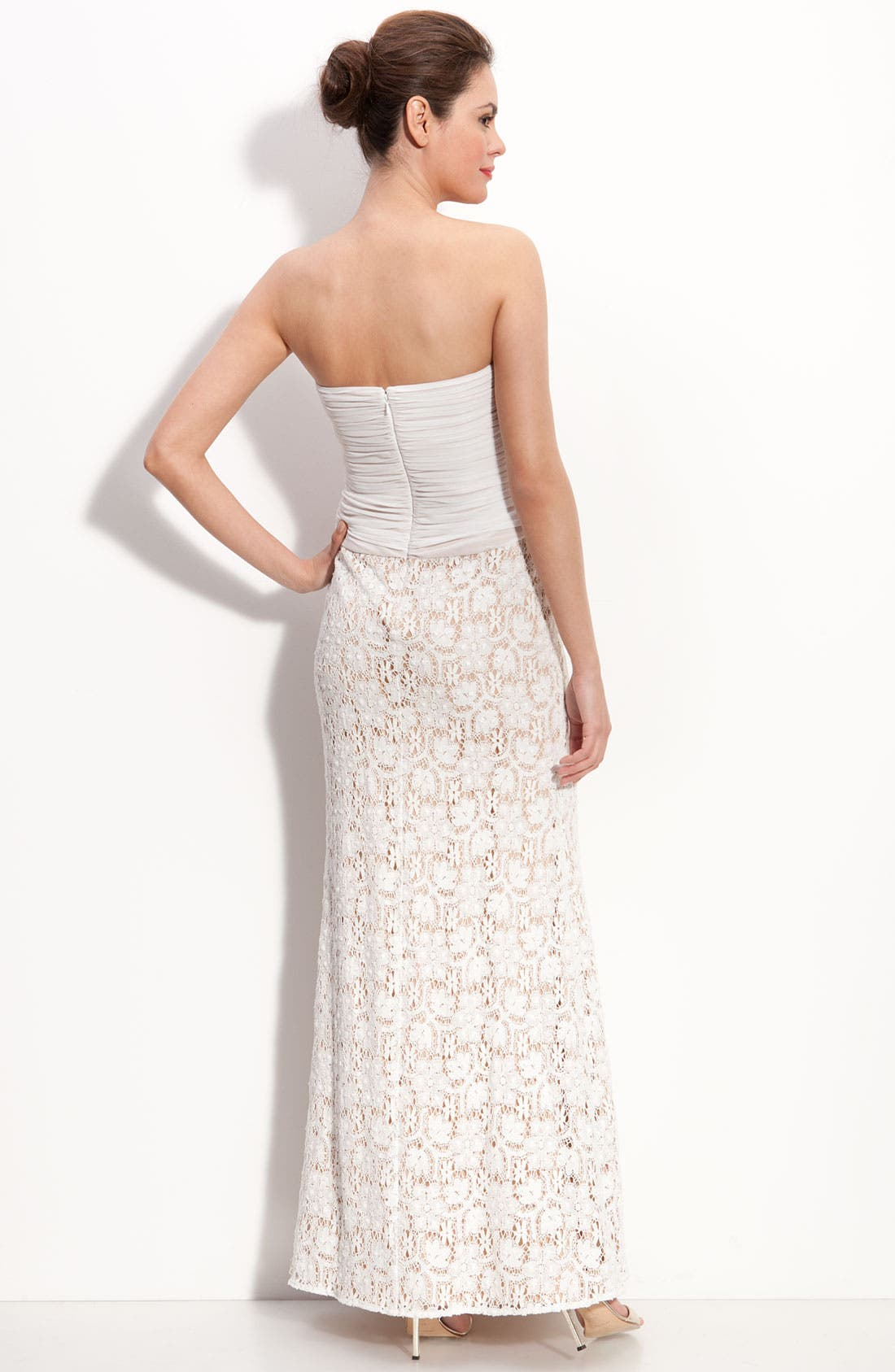Alternate Image 2  - JS Collections Chiffon & Lace Strapless Gown (Petite)