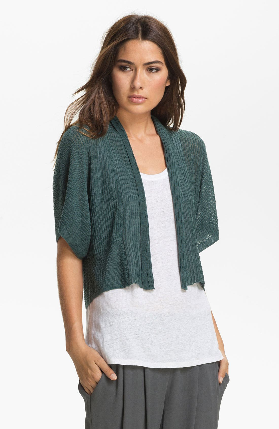 Alternate Image 1 Selected - Eileen Fisher Cropped Kimono Cardigan (Petite)