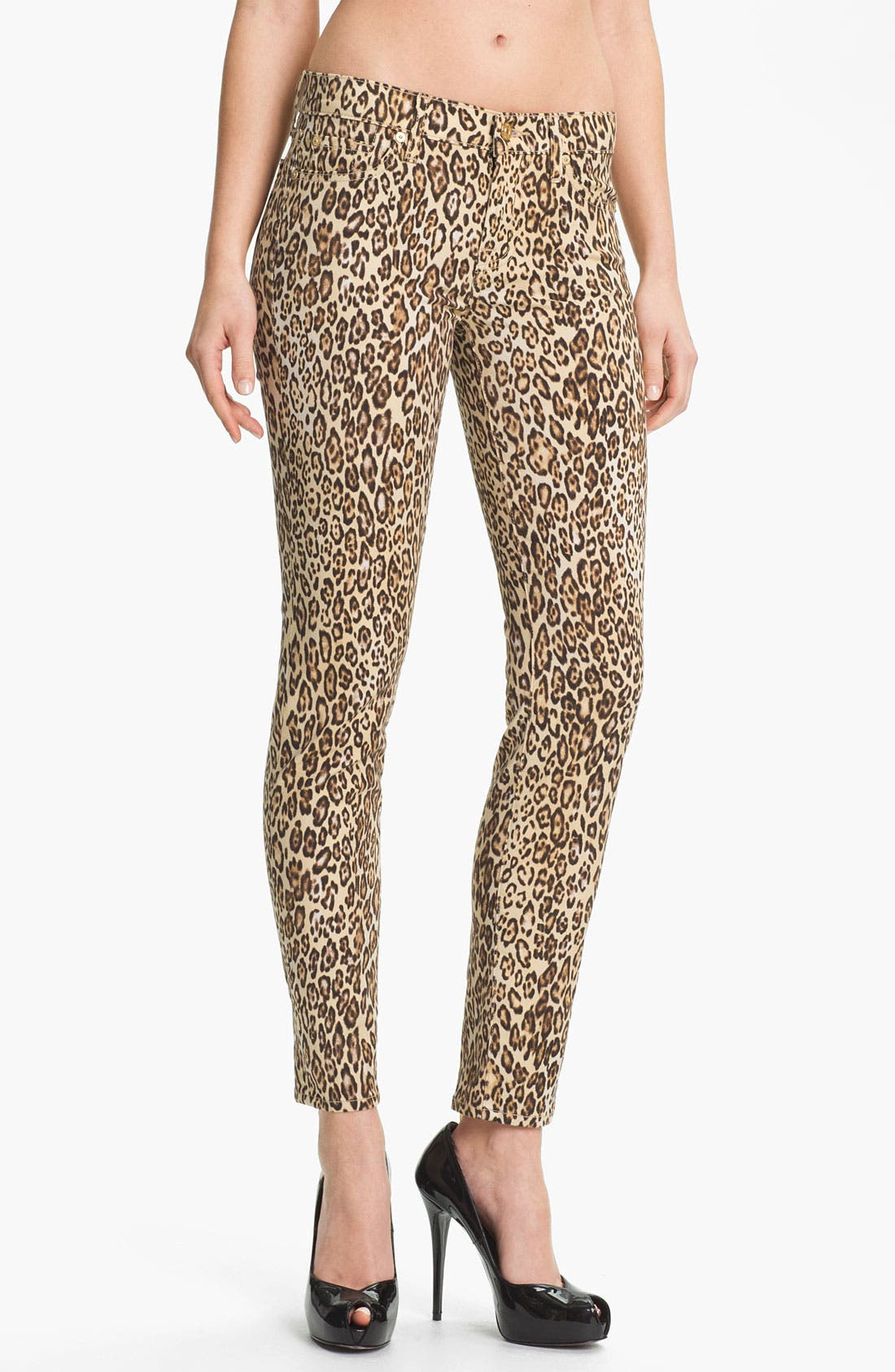Alternate Image 1 Selected - 7 For All Mankind® 'The Slim Cigarette' Stretch Jeans (Cheetah Print)