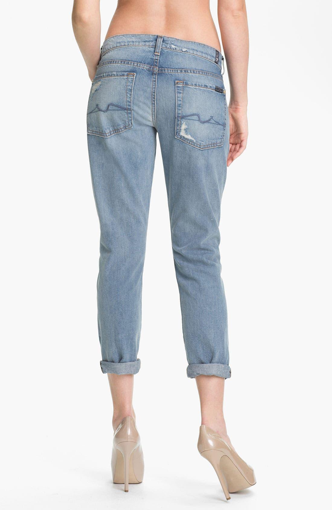 Alternate Image 2  - 7 For All Mankind® 'Josefina' Embellished Destroyed Jeans (Light Destroyed)