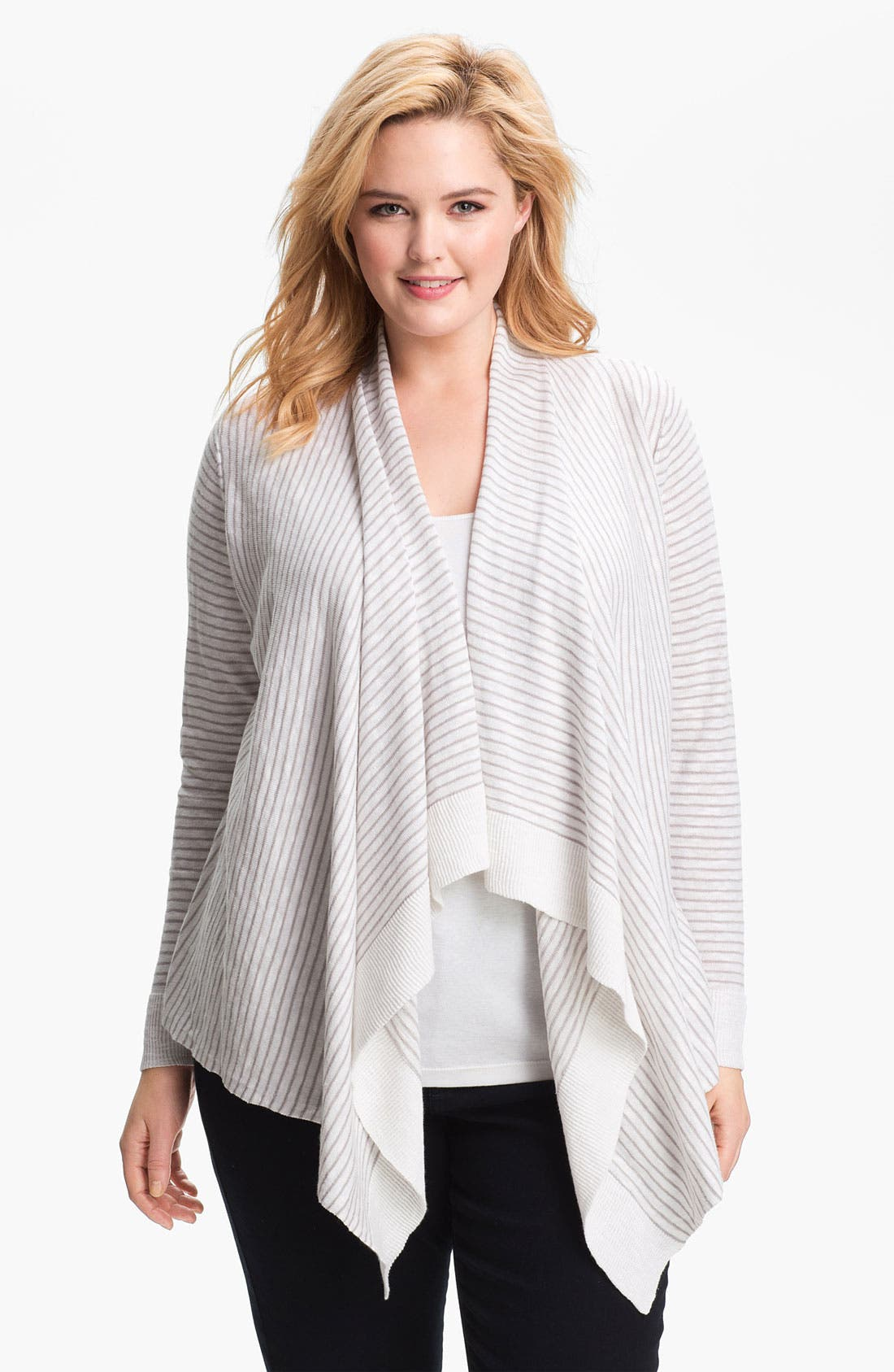 Alternate Image 1 Selected - Eileen Fisher Draped Stripe Cardigan (Plus Size)