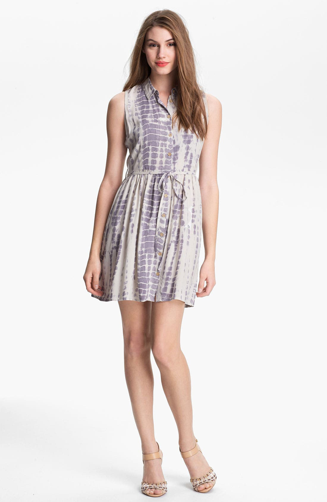 Alternate Image 1 Selected - Olive & Oak Print Sleeveless Shirtdress