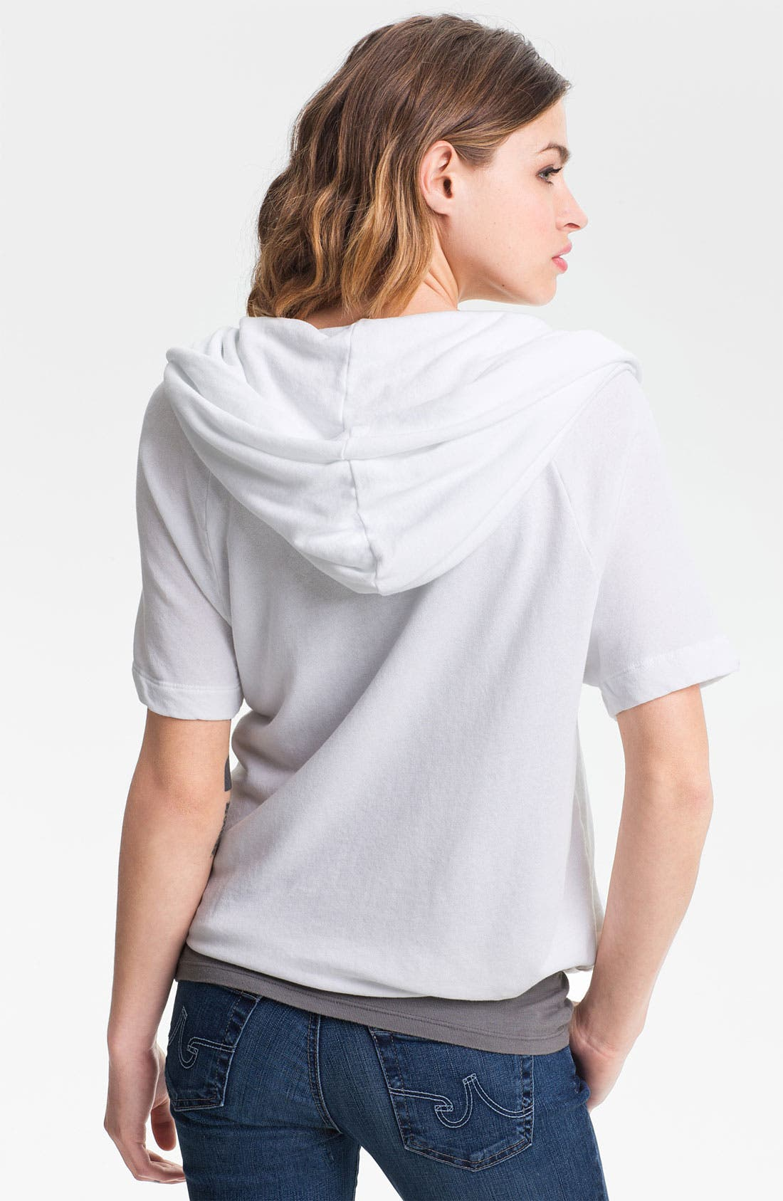 Alternate Image 2  - James Perse Tie Hem Short Sleeve Hoodie