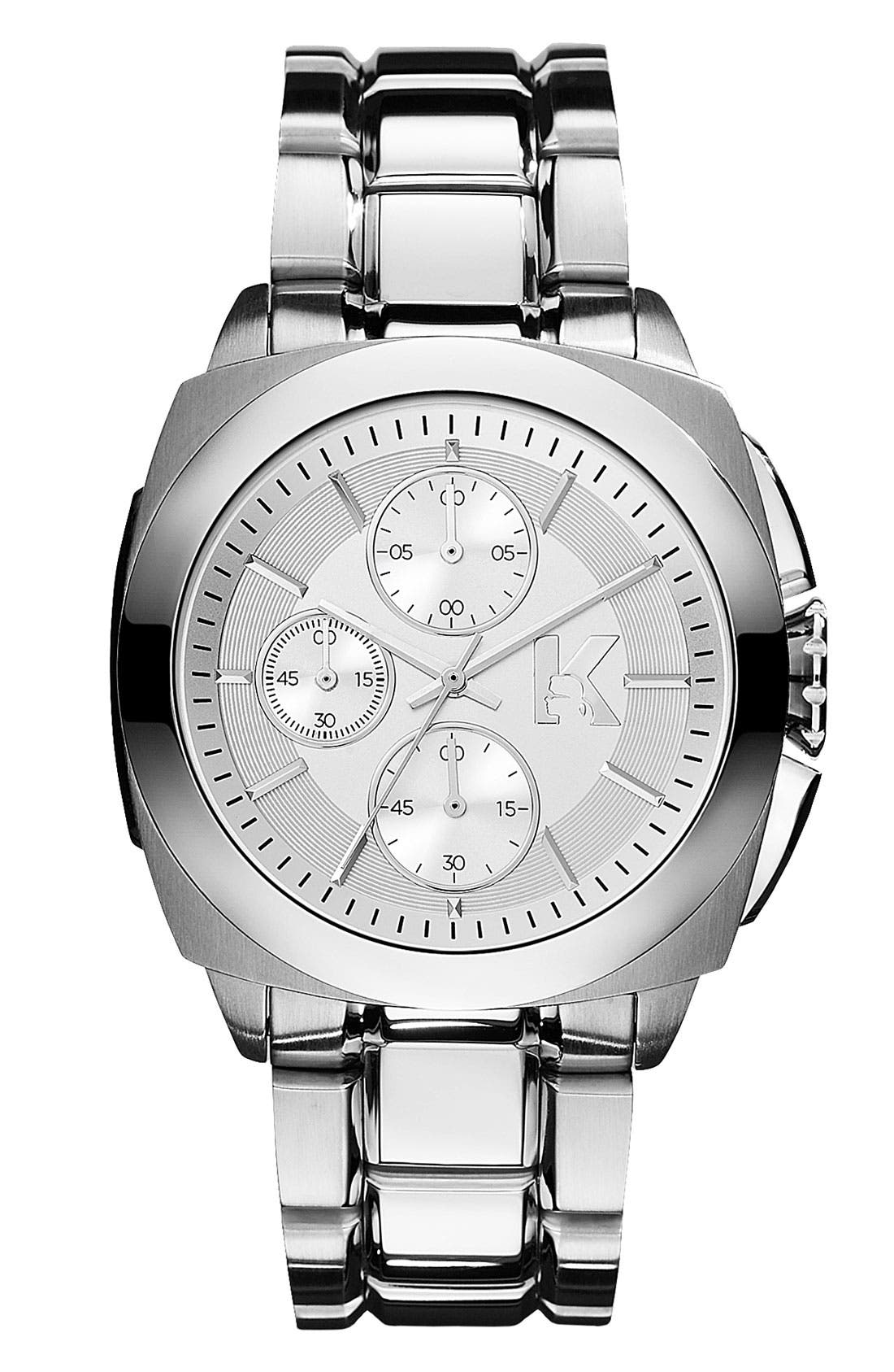 Main Image - KARL LAGERFELD 'Keeper' Chronograph Bracelet Watch, 40mm