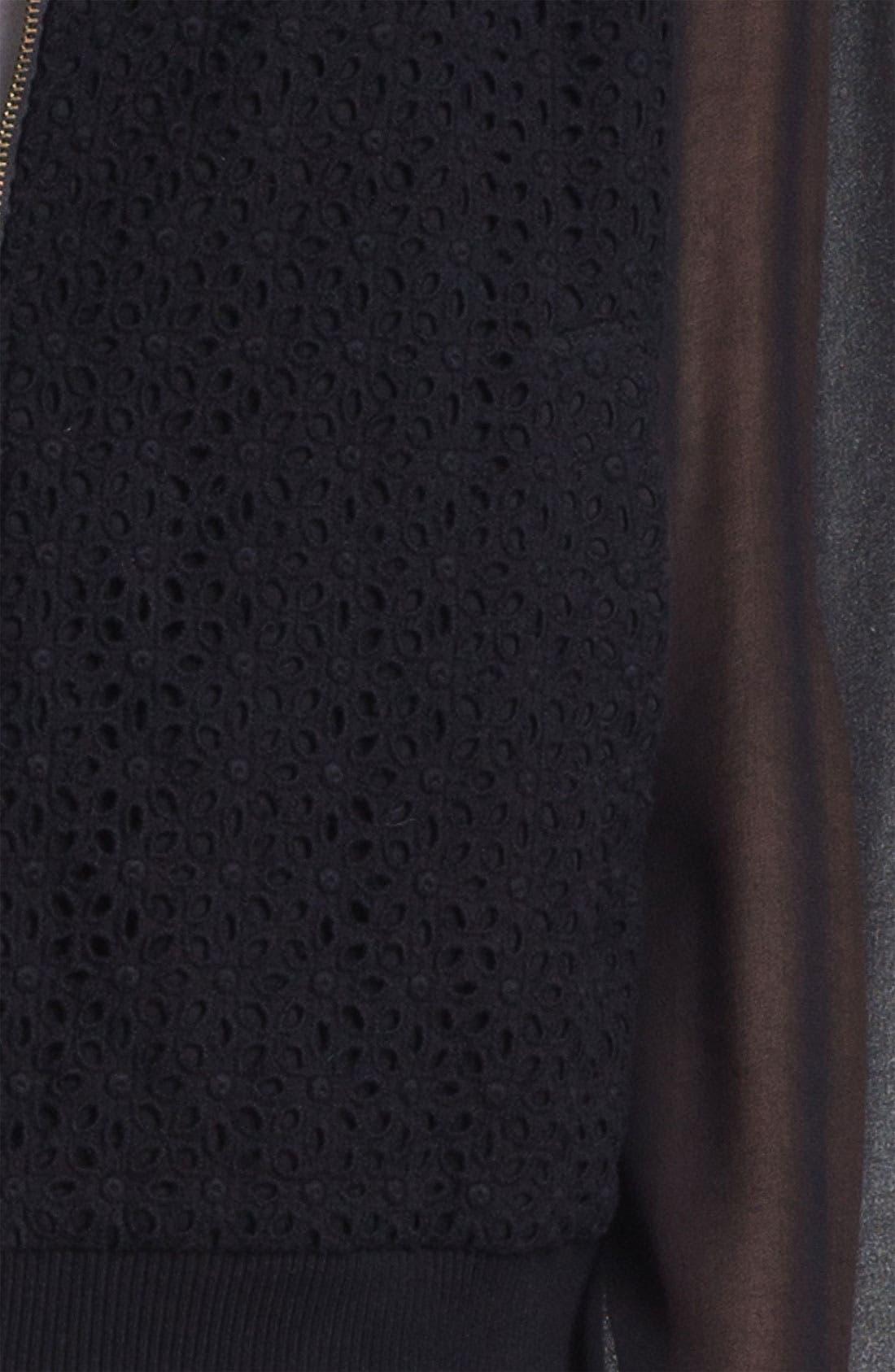 Alternate Image 5  - Max & Mia Chiffon Sleeve Eyelet Bomber Jacket