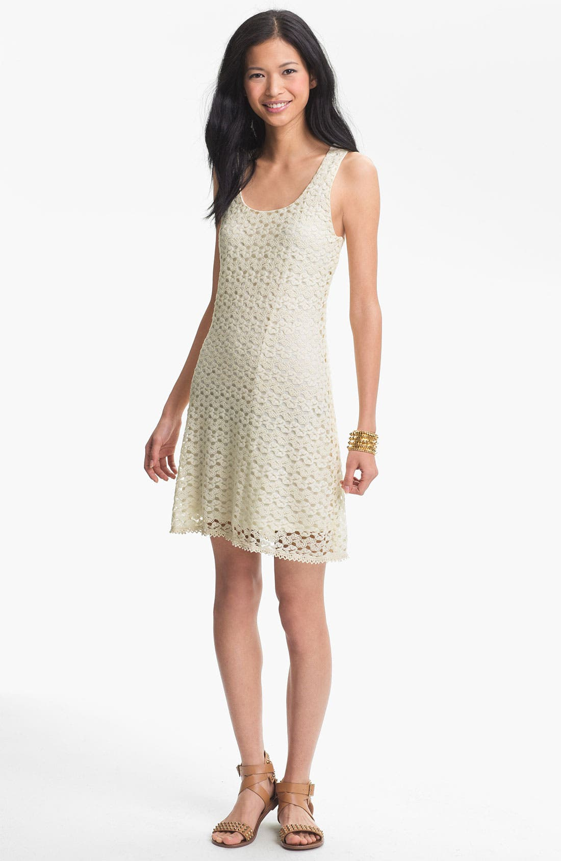 Alternate Image 1  - As U Wish Sleeveless Crochet Dress (Juniors) (Online Only)