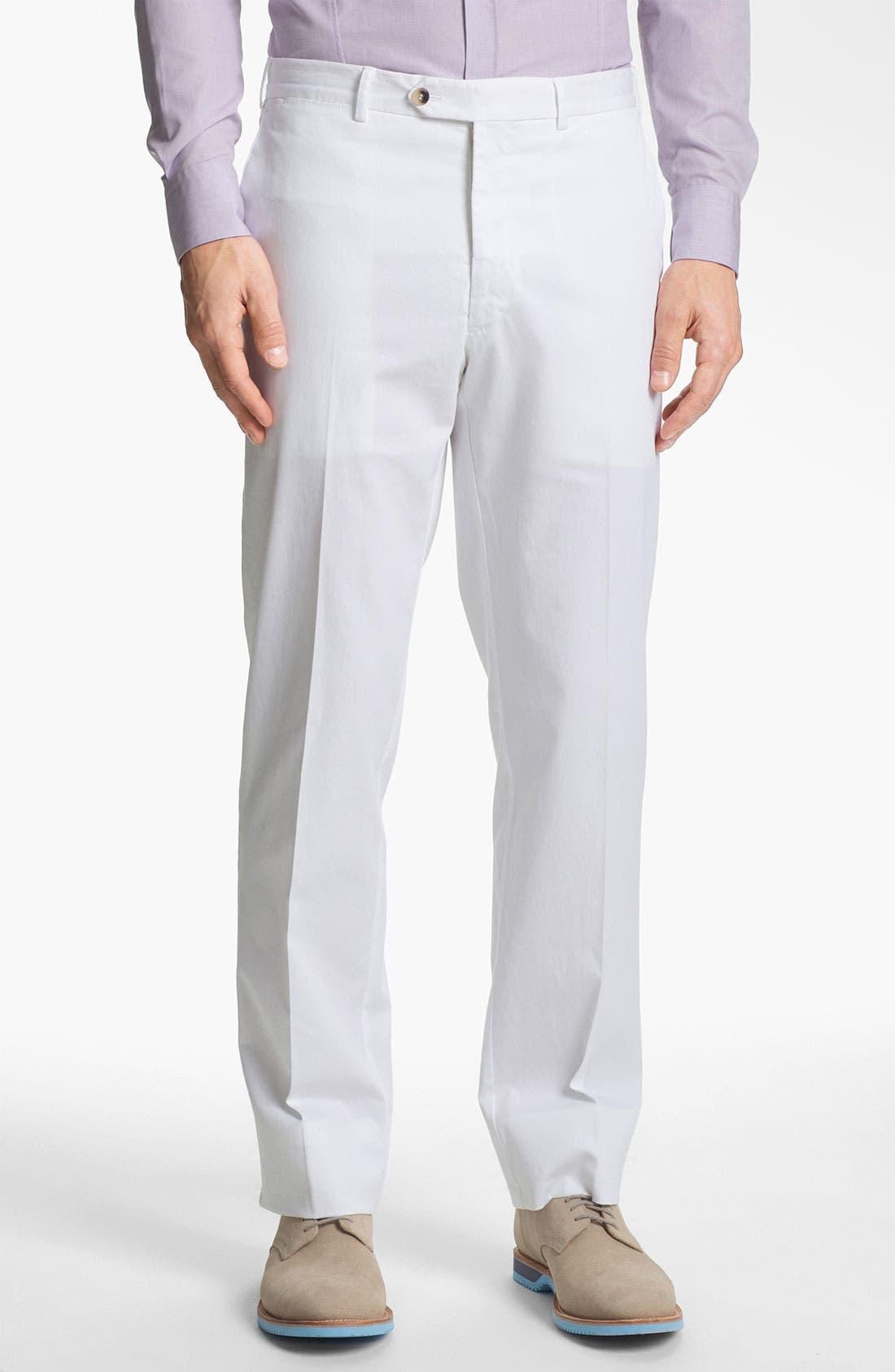Main Image - Canali Flat Front Cotton Pants