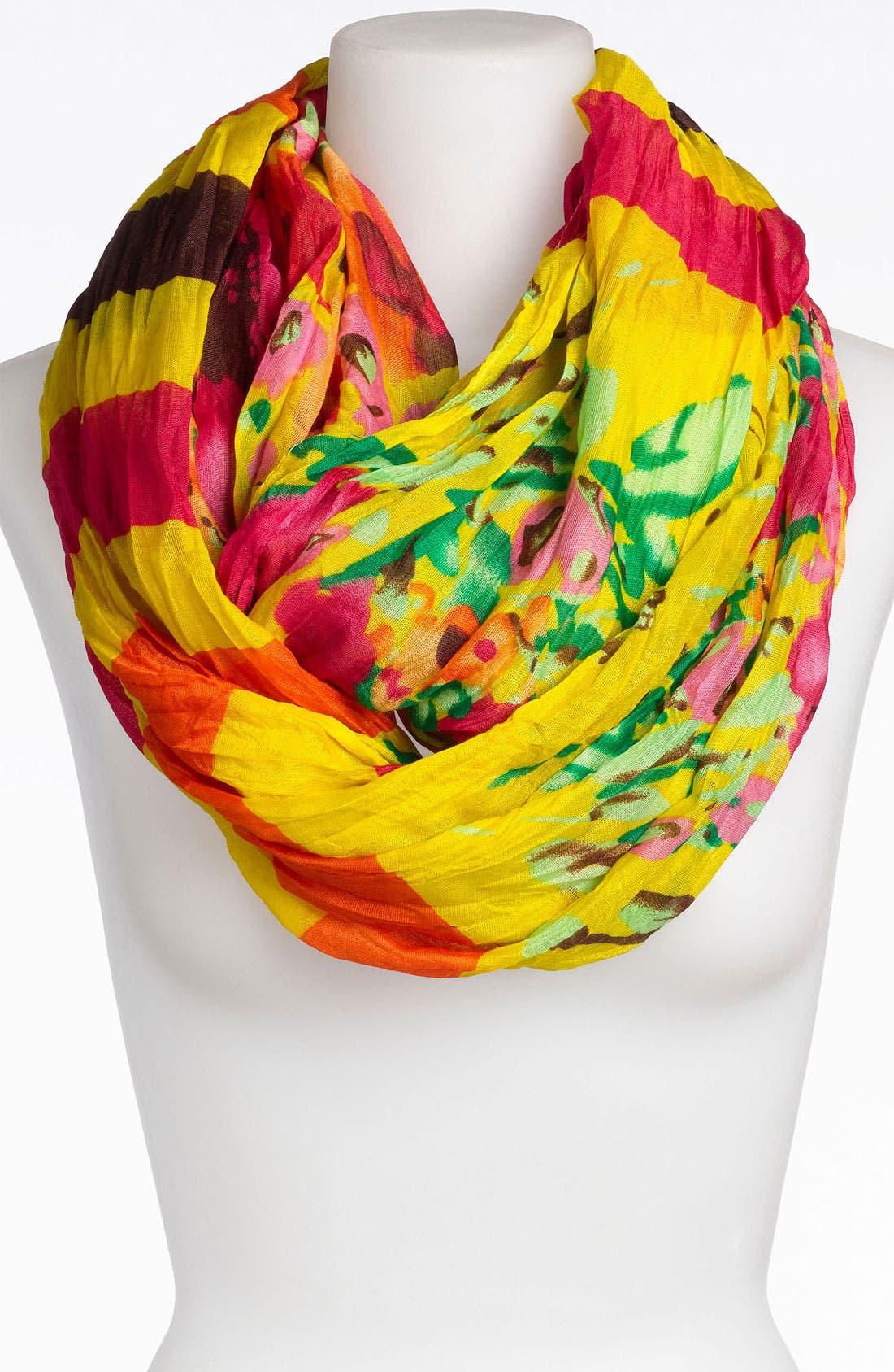 Alternate Image 1 Selected - Tasha Stripe Floral Crinkle Infinity Scarf