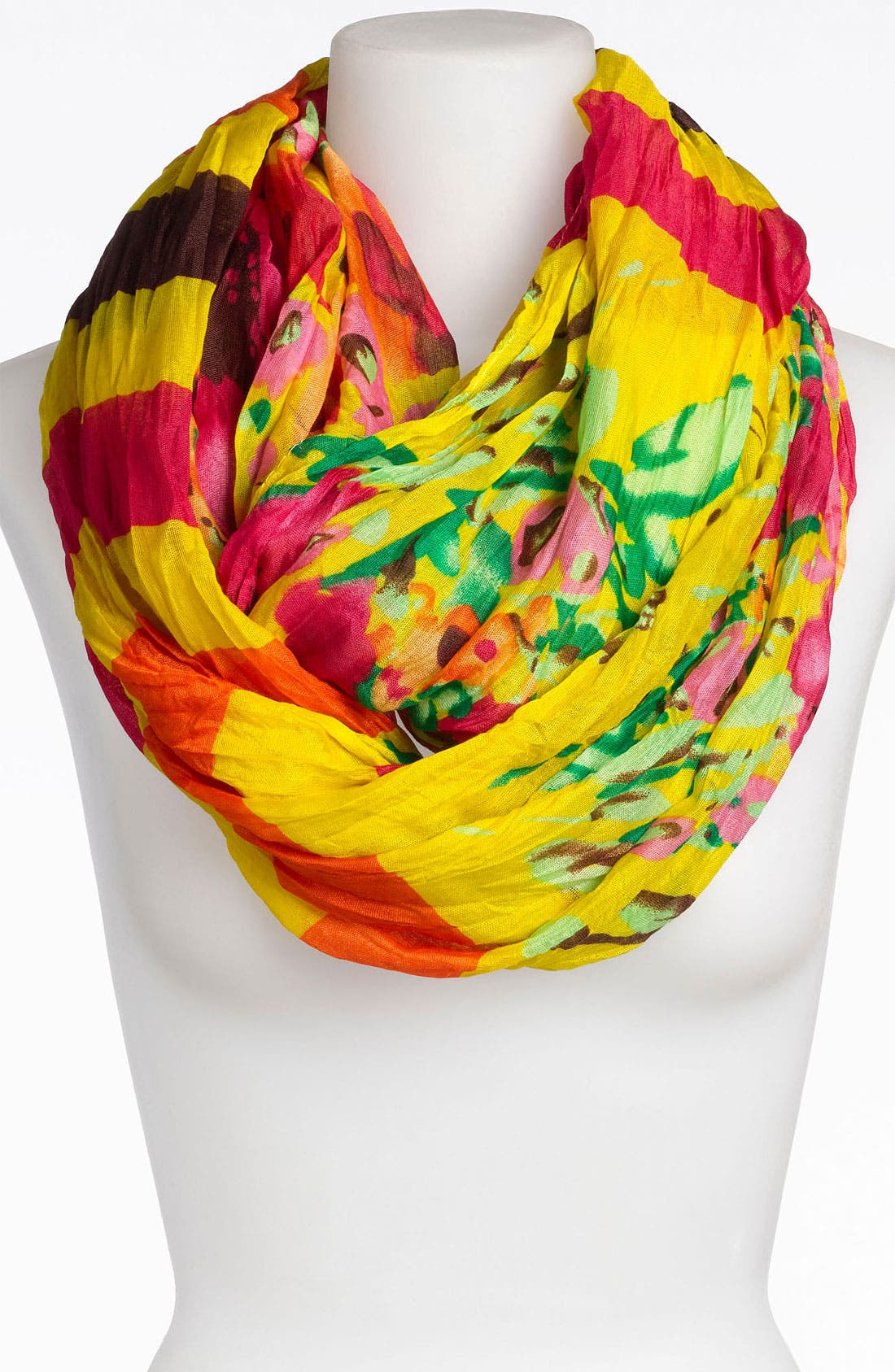 Main Image - Tasha Stripe Floral Crinkle Infinity Scarf
