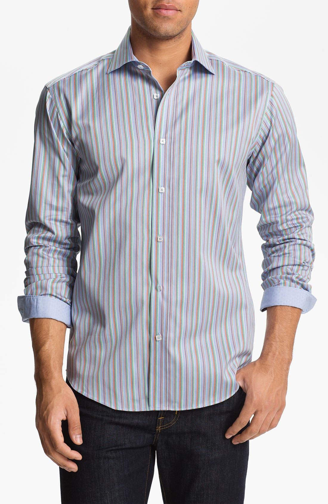 Main Image - BUGATCHI Shaped Fit Sport Shirt (Tall)