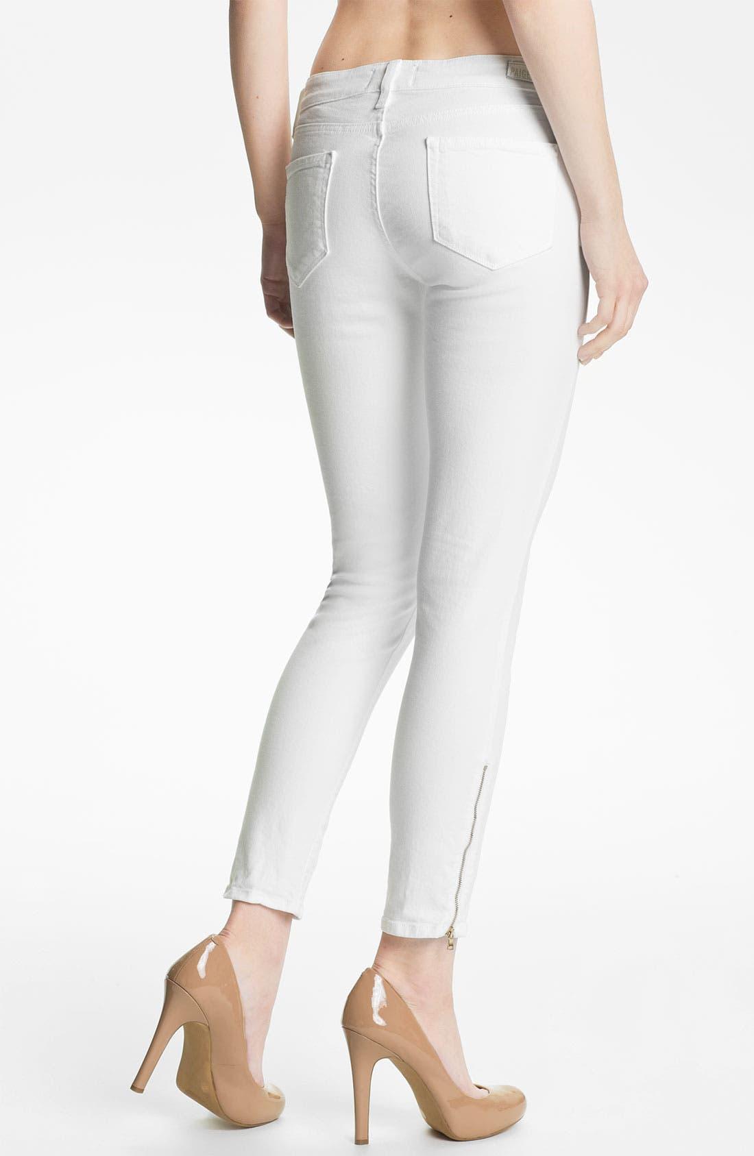 Alternate Image 2  - Paige Denim 'Verdugo' Ankle Zip Skinny Stretch Jeans (White)