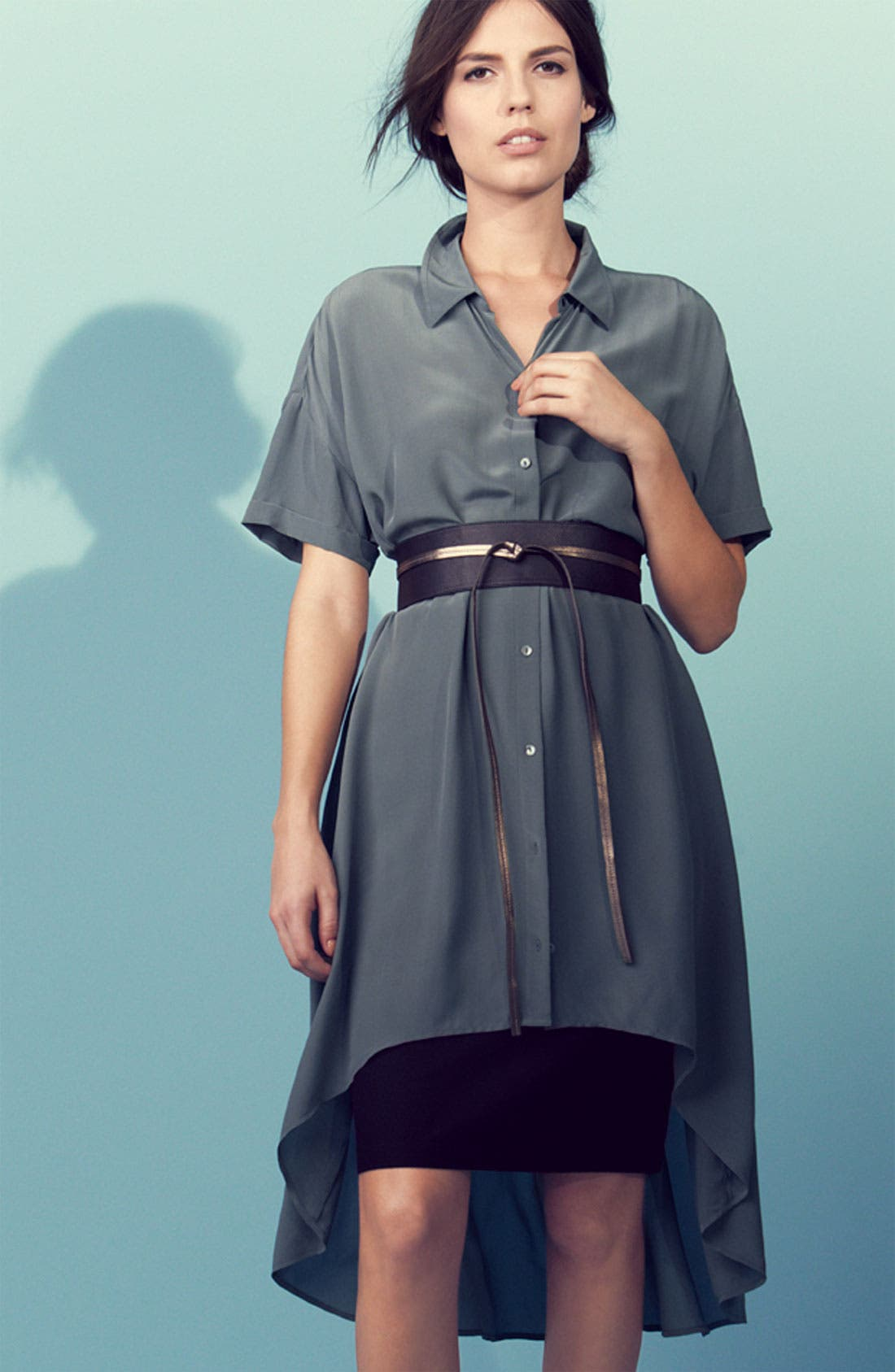 Alternate Image 1 Selected - Eileen Fisher Shirtdress, Pencil Skirt & Belt